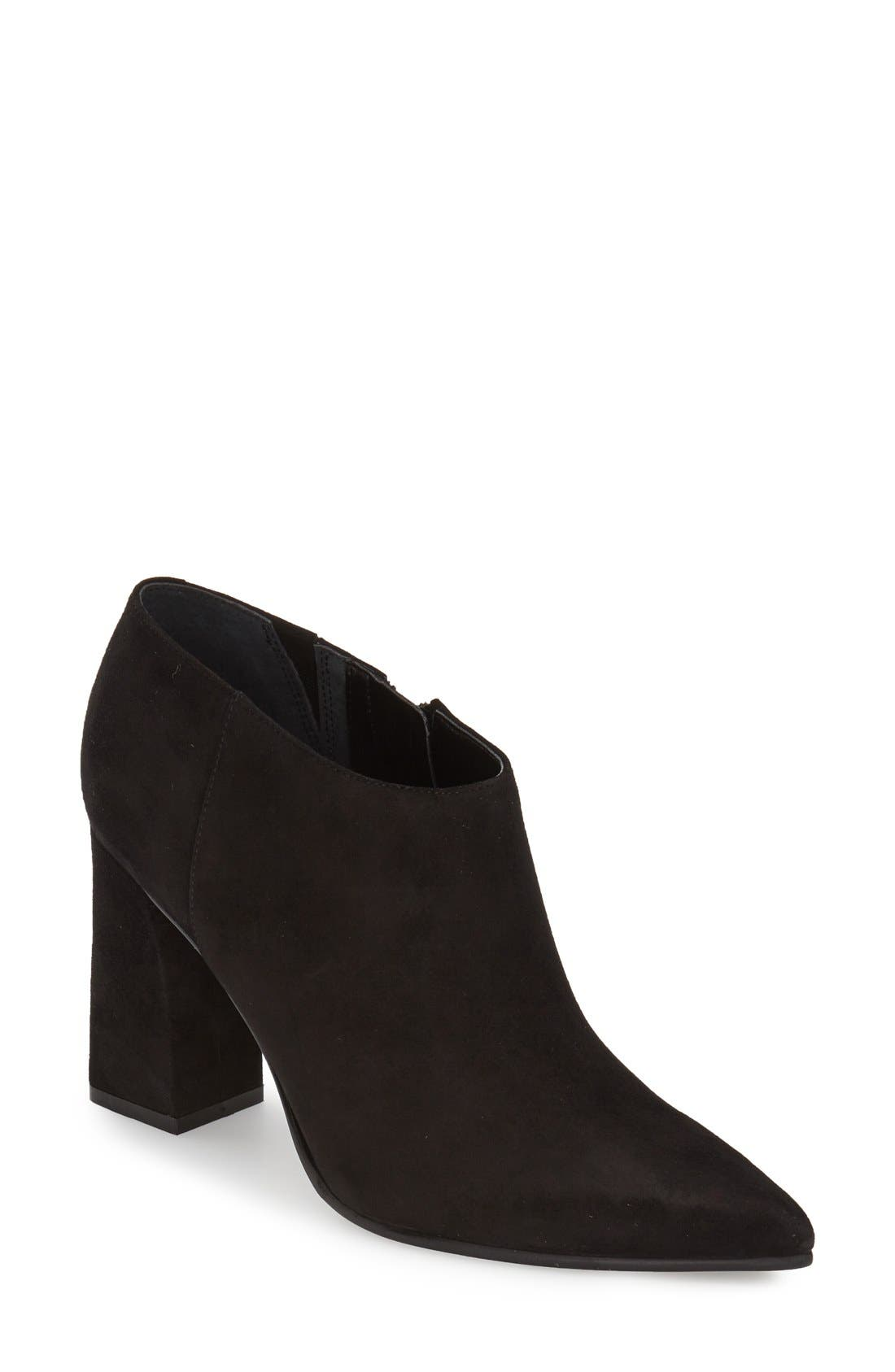 'Jayla' Block Heel Bootie,                             Main thumbnail 1, color,                             Black Suede