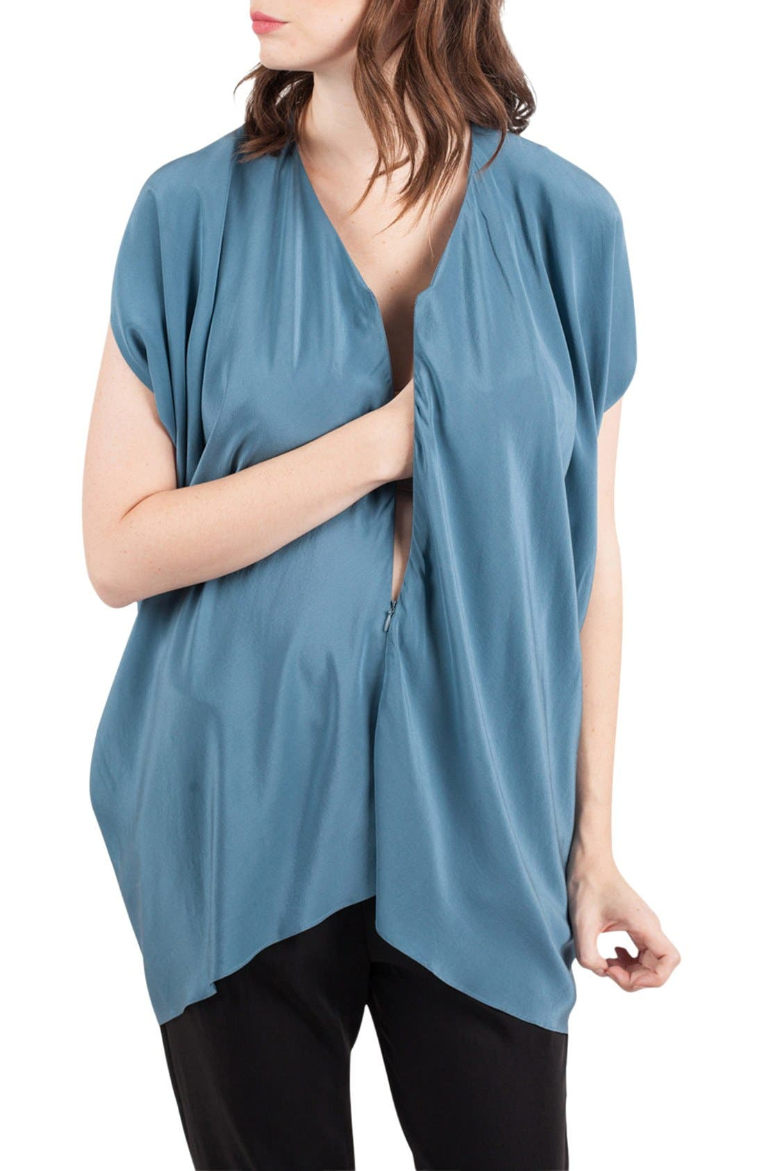 Crêpe de Chine Maternity/Nursing Tunic,                             Alternate thumbnail 2, color,                             Slate Blue