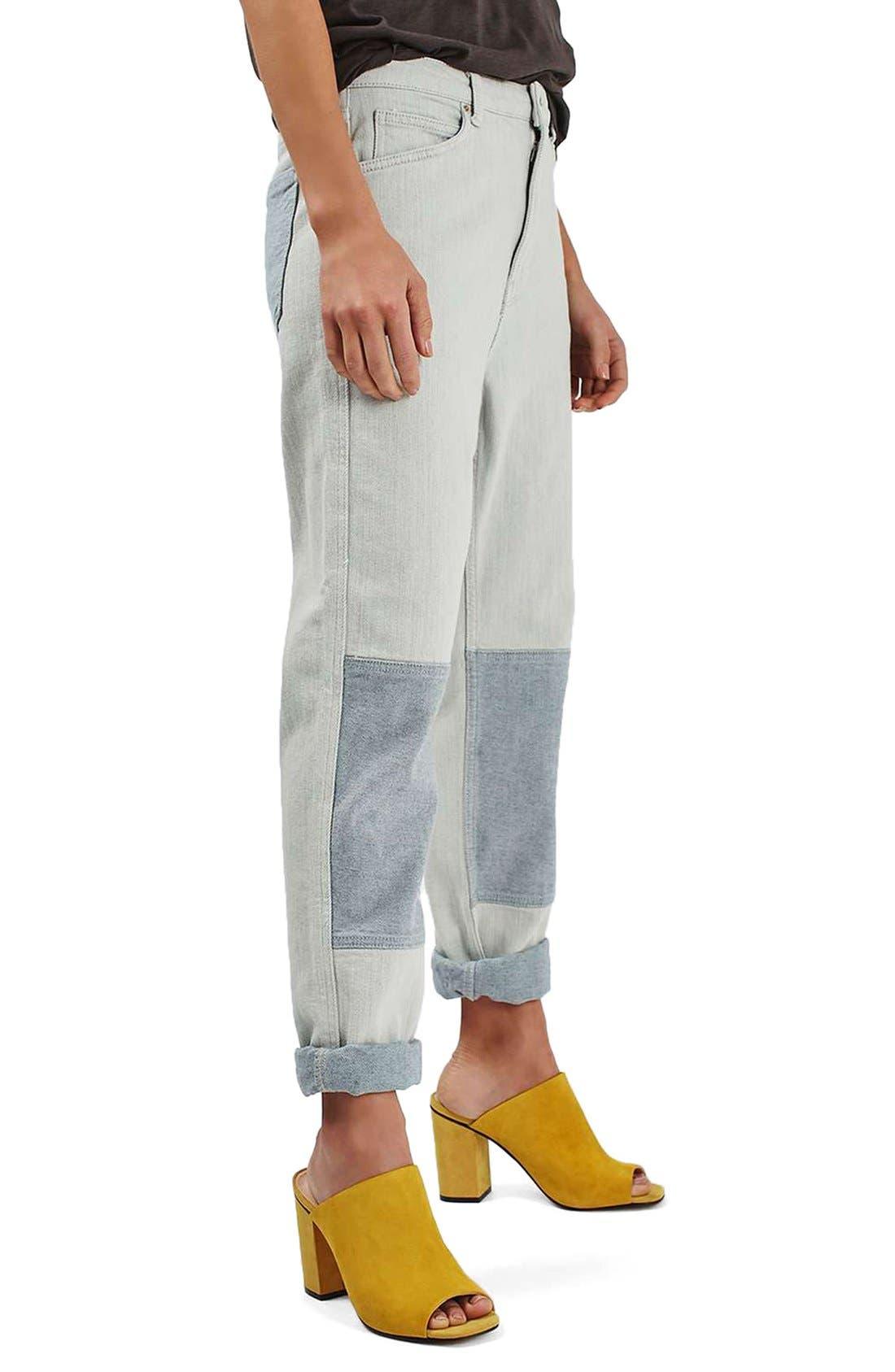 Alternate Image 1 Selected - Topshop Moto Patch Knee Boyfriend Jeans