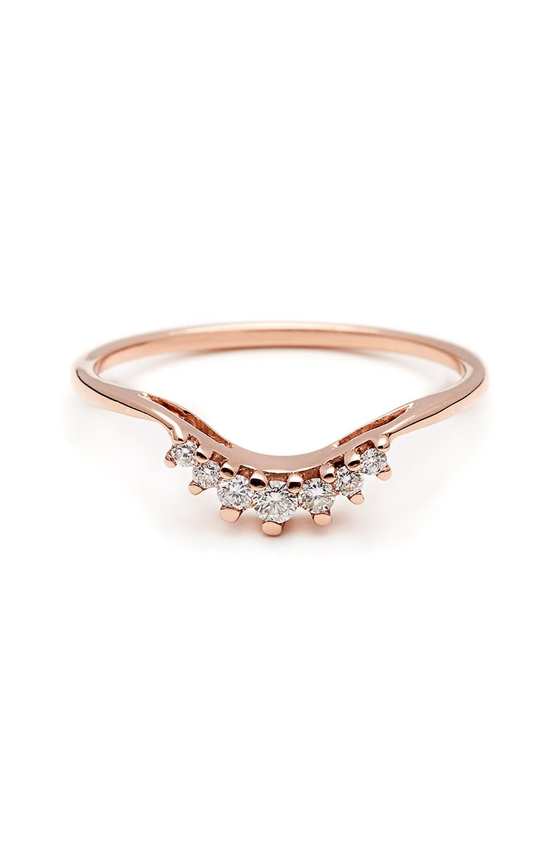 'Luna Tiara' Diamond Ring,                             Main thumbnail 1, color,                             Rose/ Gold/ White