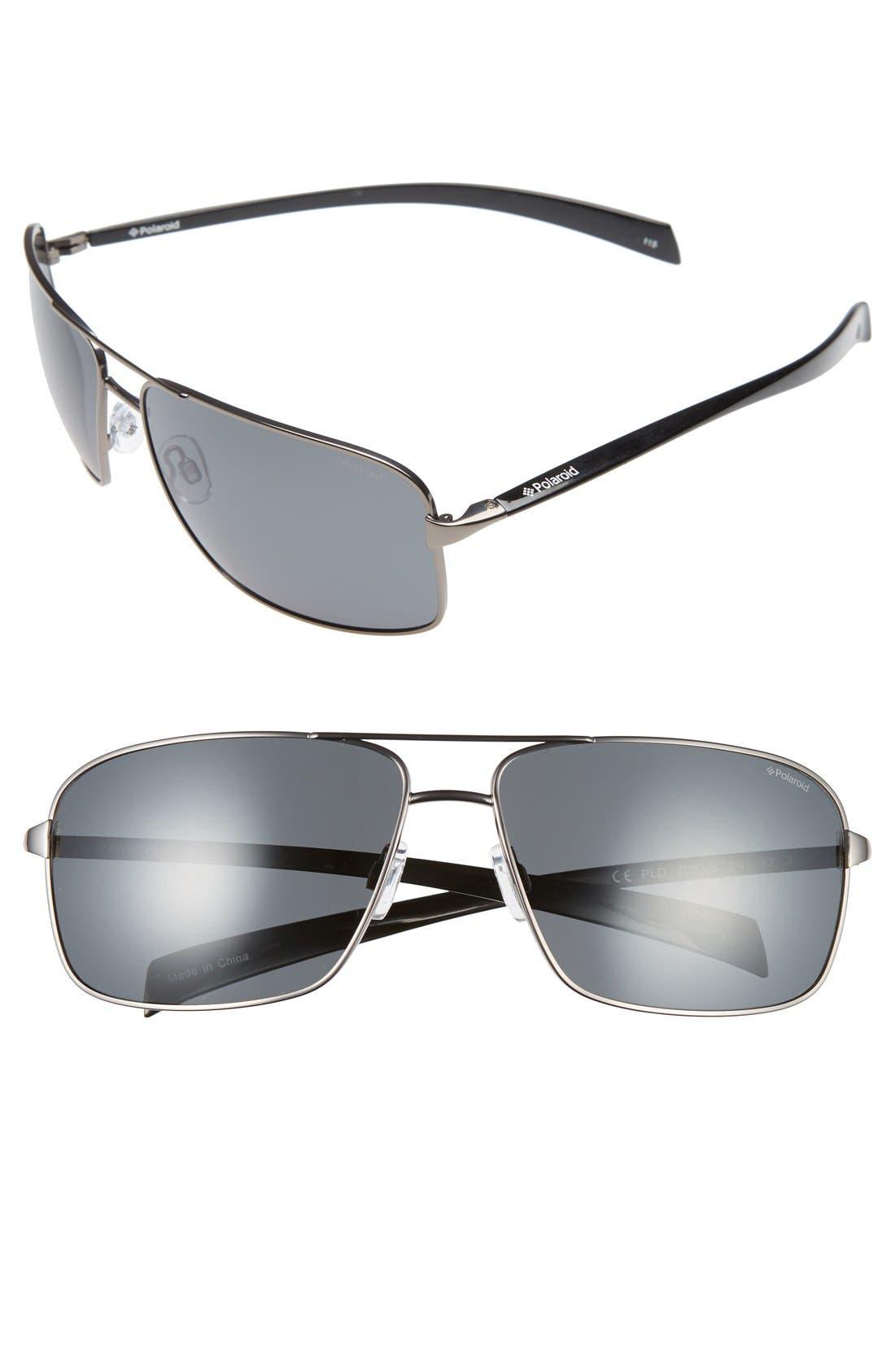 POLAROID EYEWEAR 64mm Polarized Aviator Sunglasses
