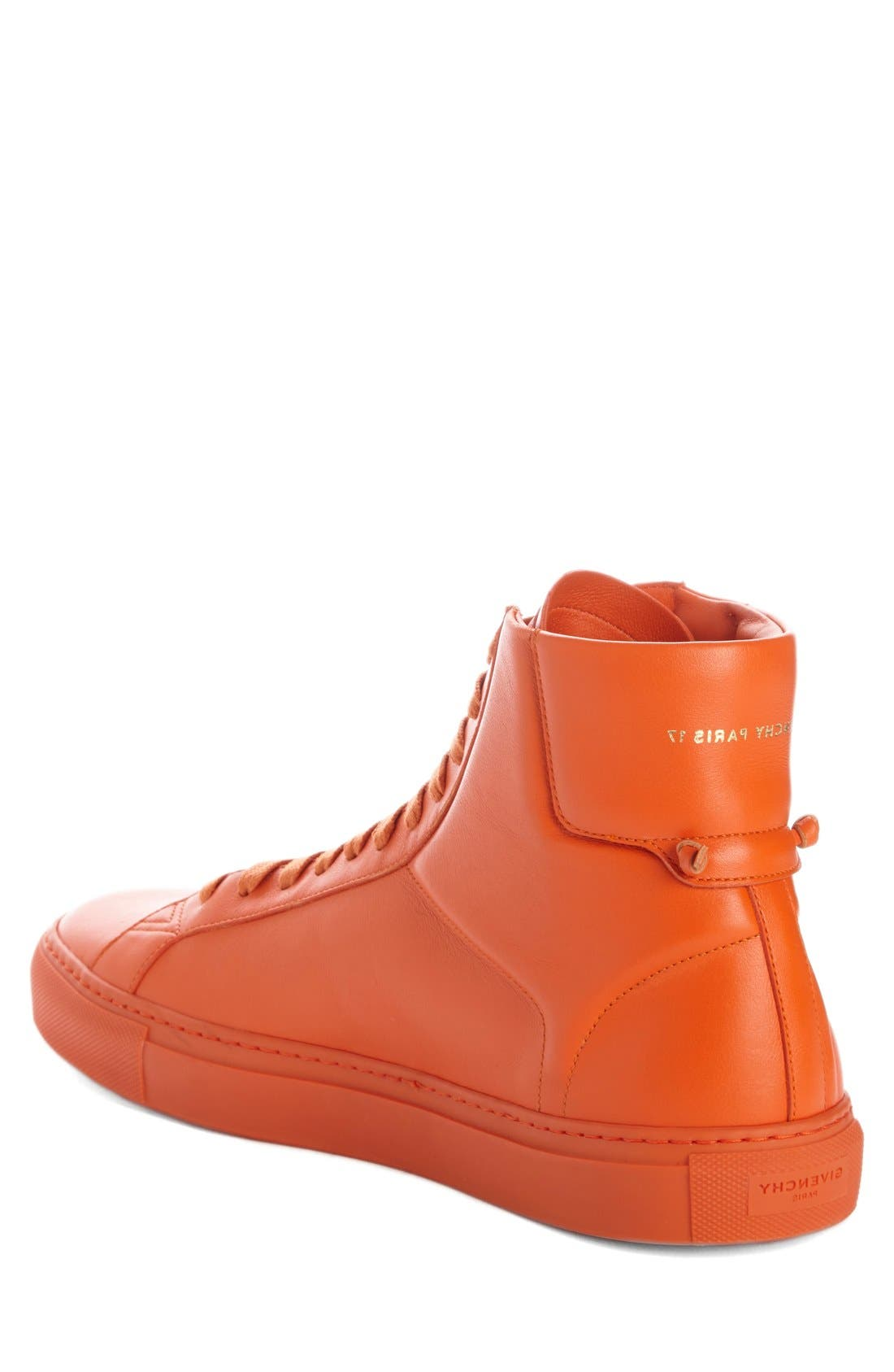 'Urban Knots' High Top Sneaker,                             Alternate thumbnail 2, color,                             Orange Leather