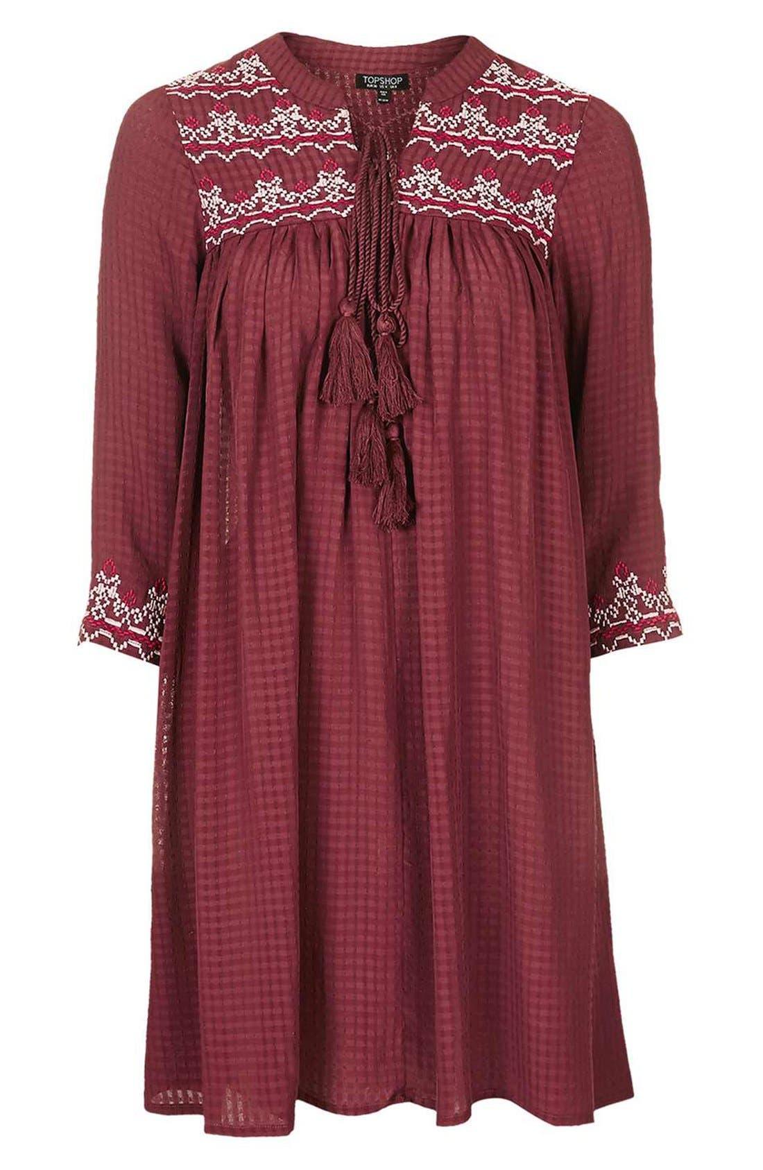 Alternate Image 4  - Topshop Cross Stitched Peasant Dress