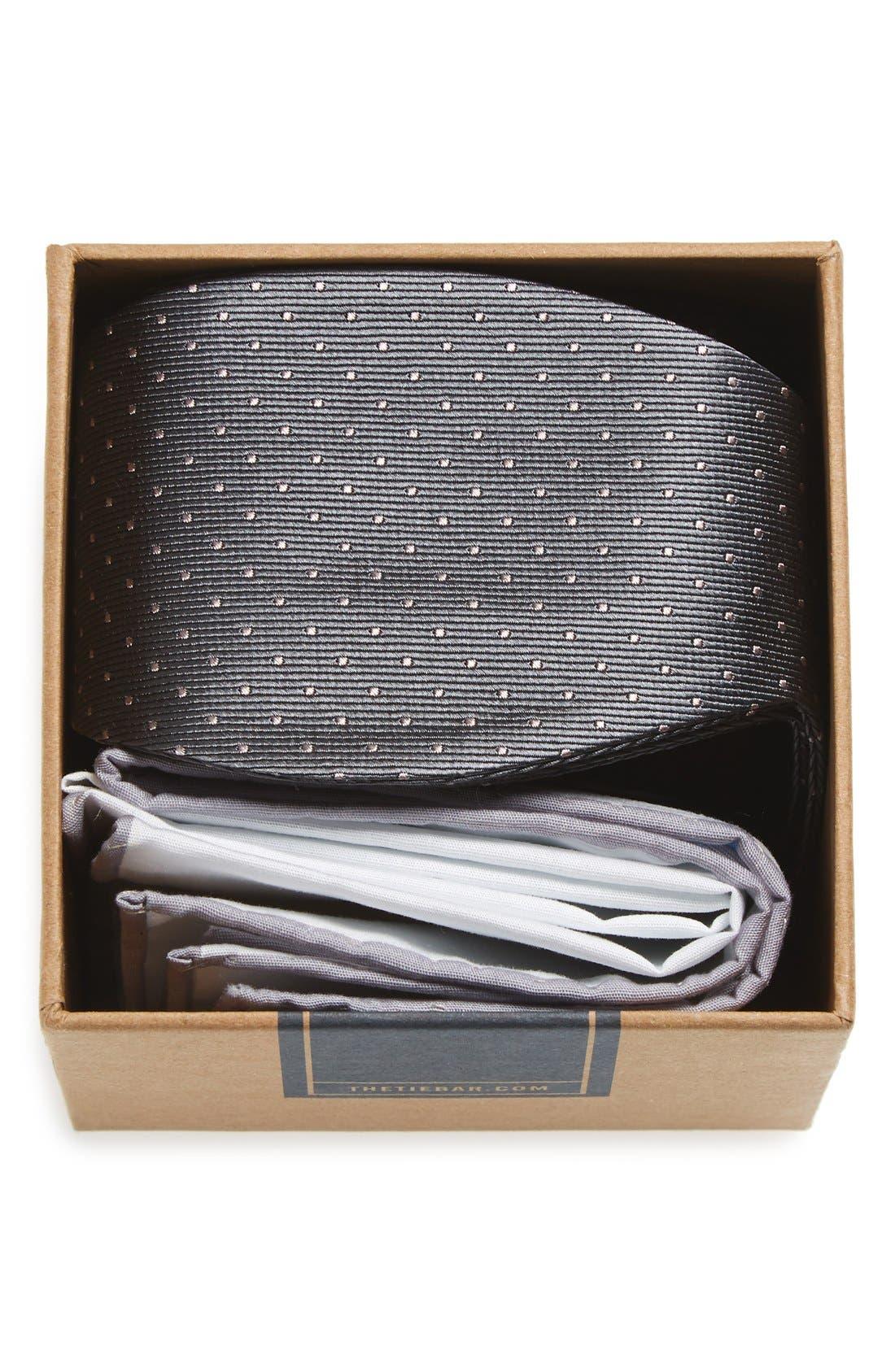 THE TIE BAR Dot Silk Bow Tie & Cotton Pocket Square Style Box