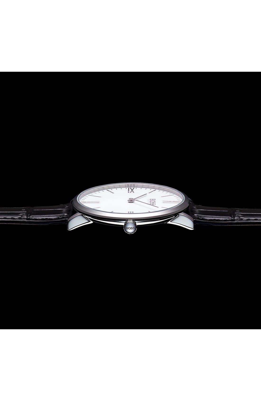 Alternate Image 5  - BOSS Ultra Slim Leather Strap Watch, 40mm