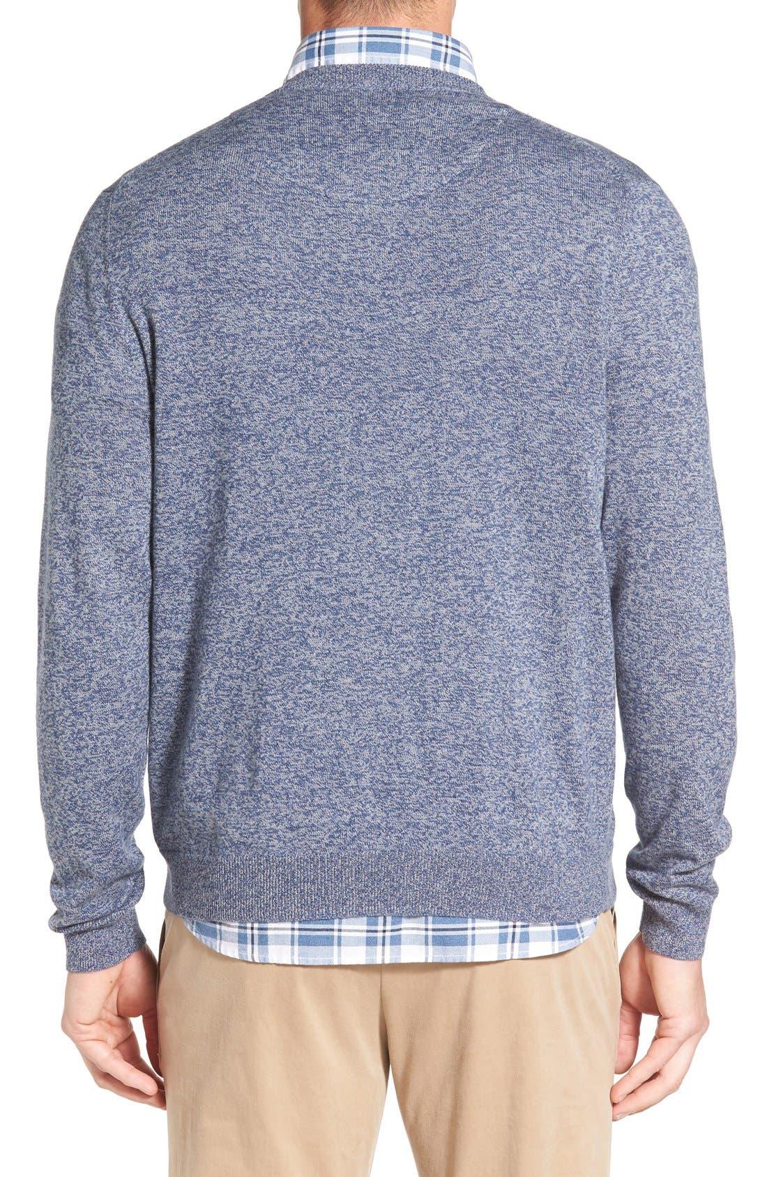 Cotton & Cashmere V-Neck Sweater,                             Alternate thumbnail 2, color,                             Blue Estate Jaspe