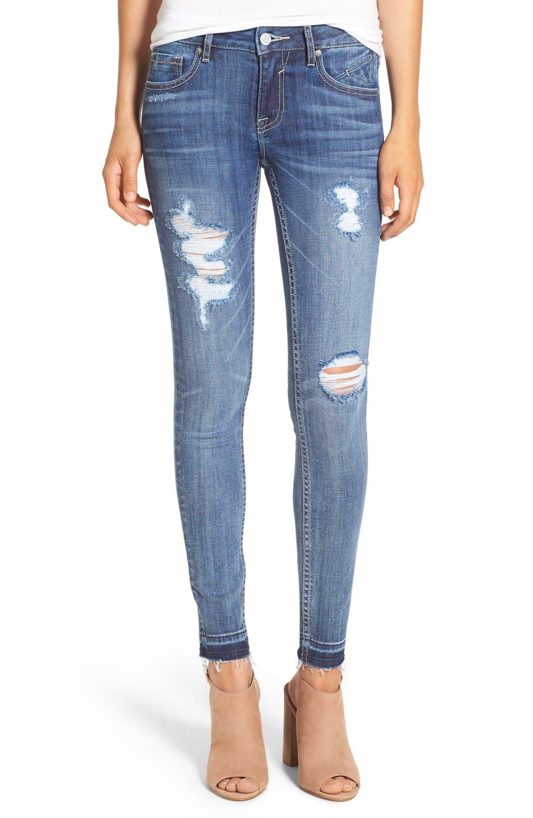 'Chelsea' Destroyed Skinny Jeans,                         Main,                         color, Medium Wash