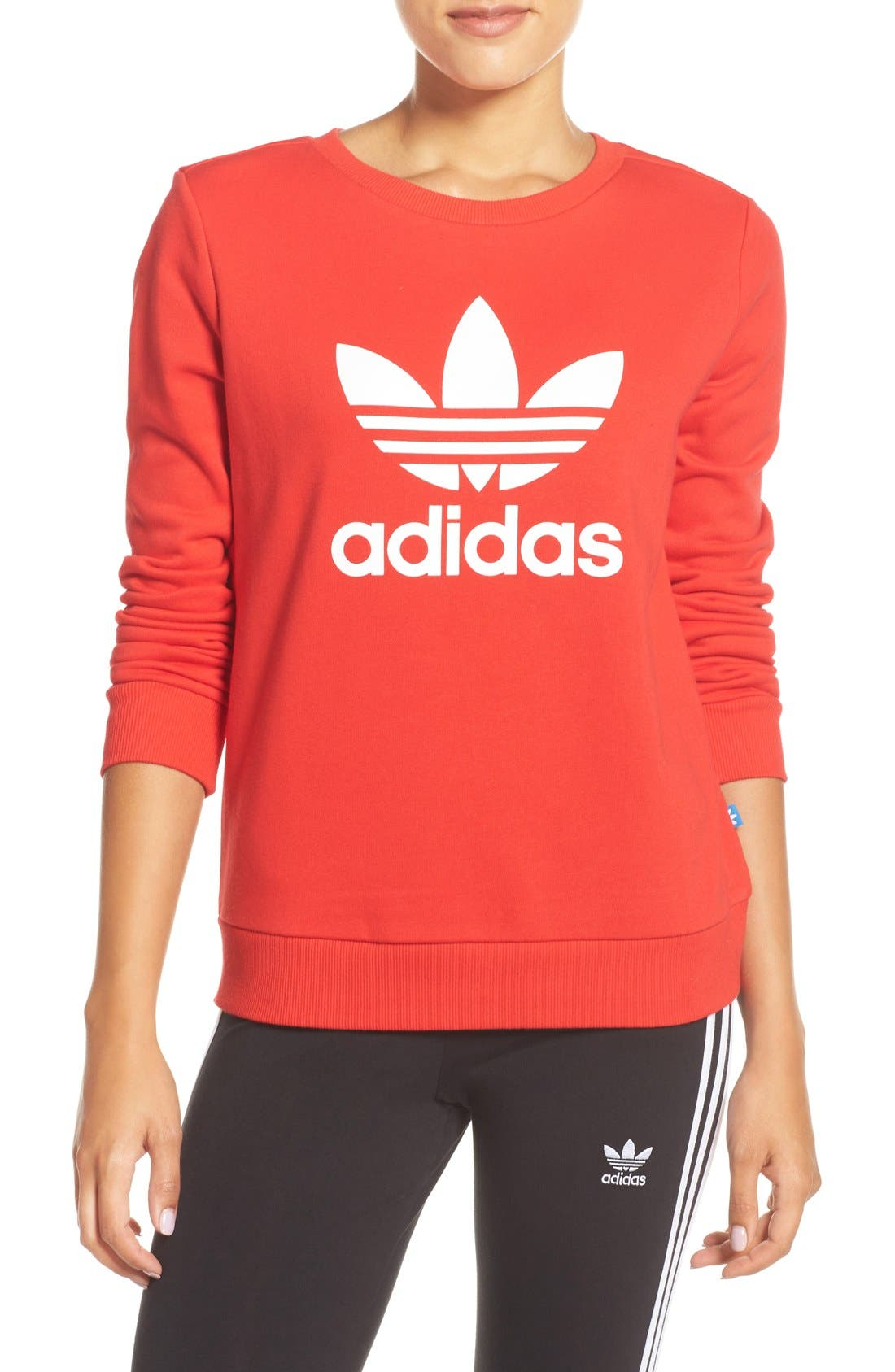 Alternate Image 1 Selected - adidas Logo Crewneck Sweater