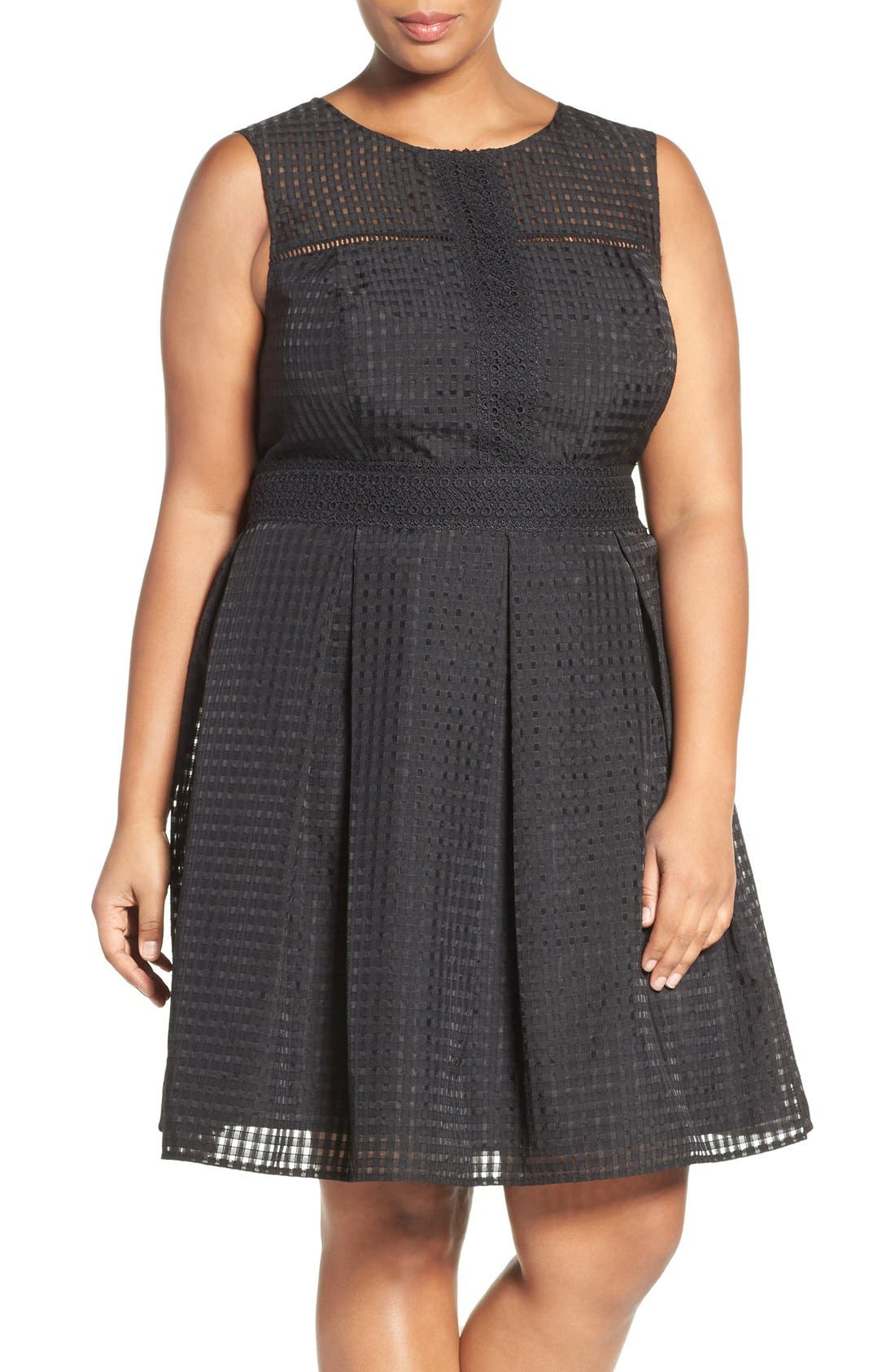 Windowpane Organdy Fit & Flare Dress,                             Main thumbnail 1, color,                             Black