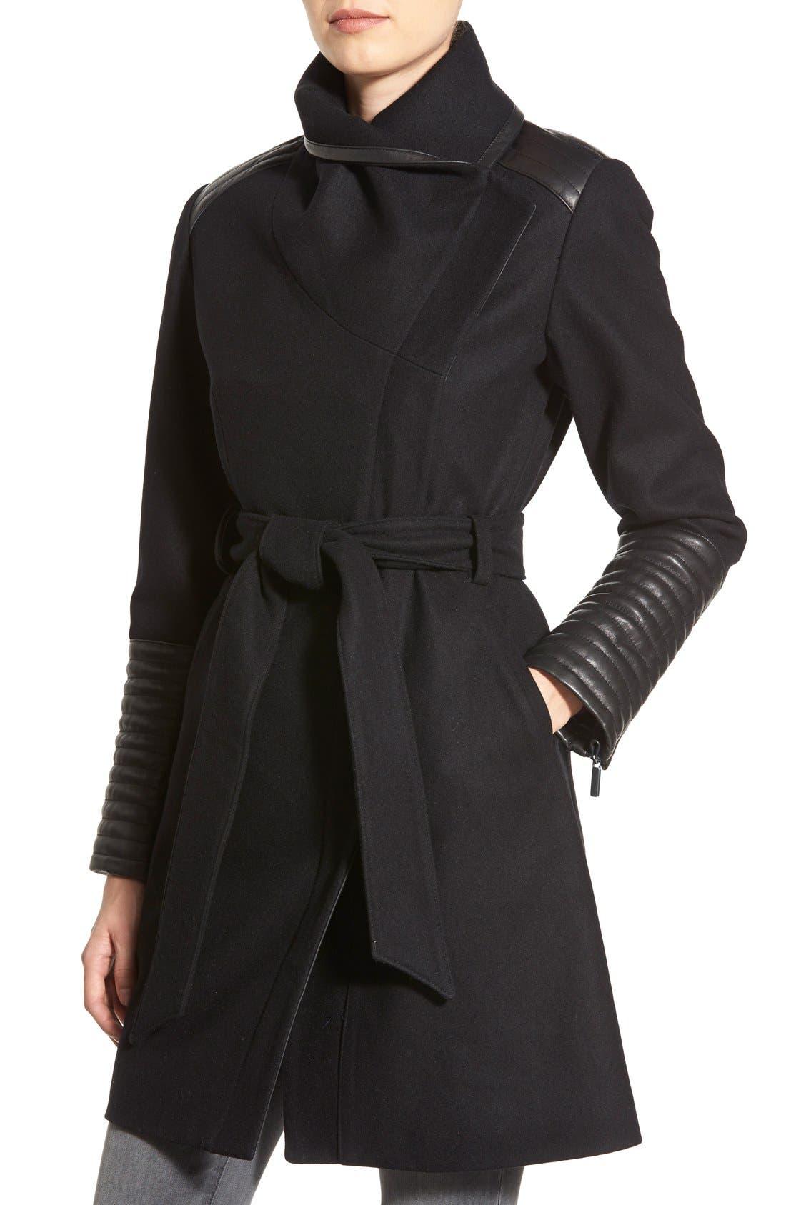 Belle BadgleyMischka 'Lorian' FauxLeather Trim BeltedAsymmetrical Wool Blend Coat,                             Alternate thumbnail 4, color,                             Black
