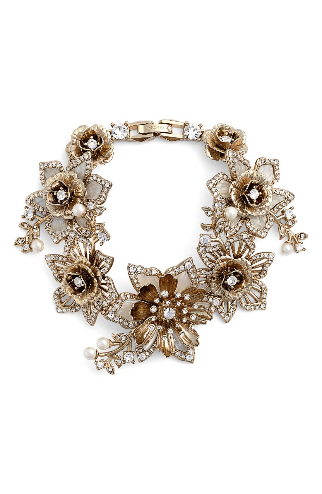 Alternate Image 1 Selected - Marchesa Faux Pearl & Crystal Bracelet