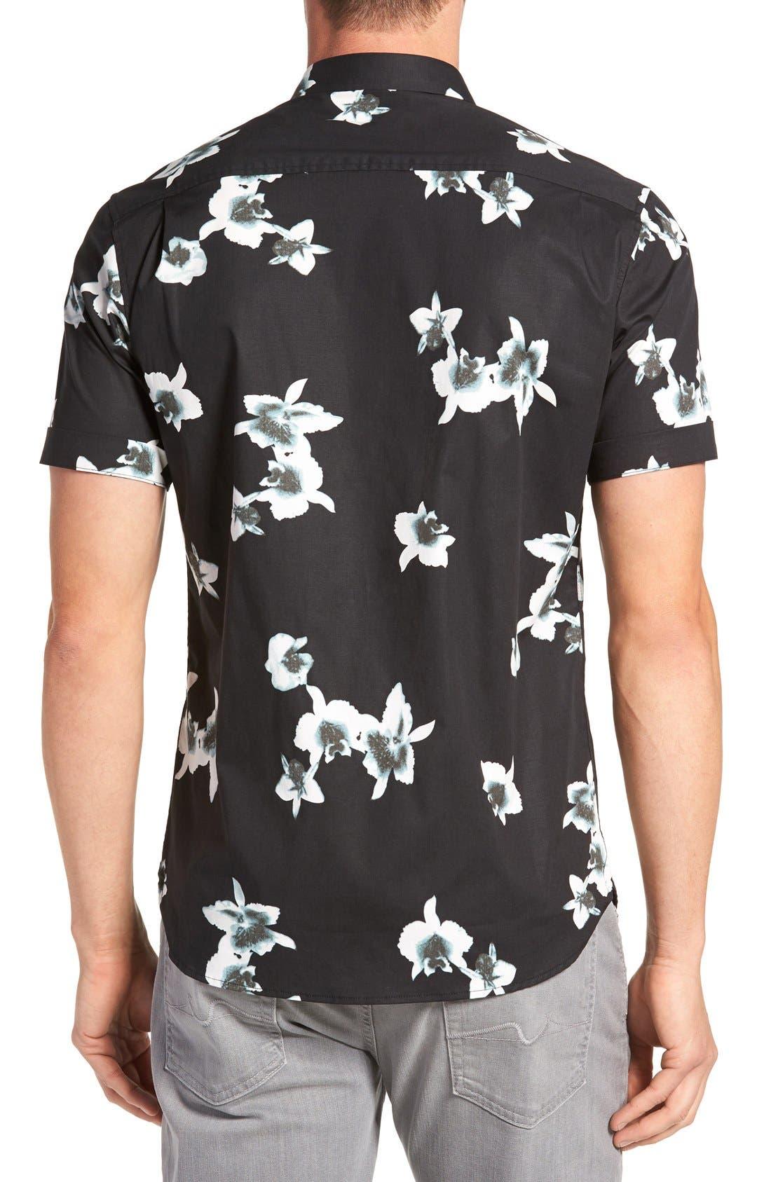 'My Wish' Short Sleeve Floral Print Sport Shirt,                             Alternate thumbnail 2, color,                             Black