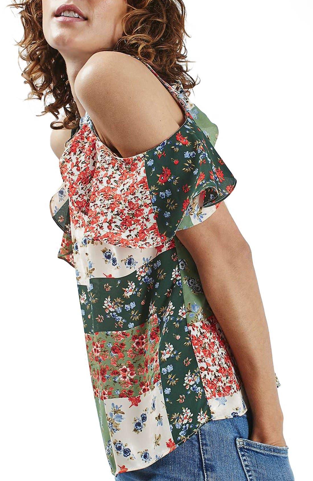 Alternate Image 3  - Topshop Patchwork Floral Ruffle Cold Shoulder Blouse