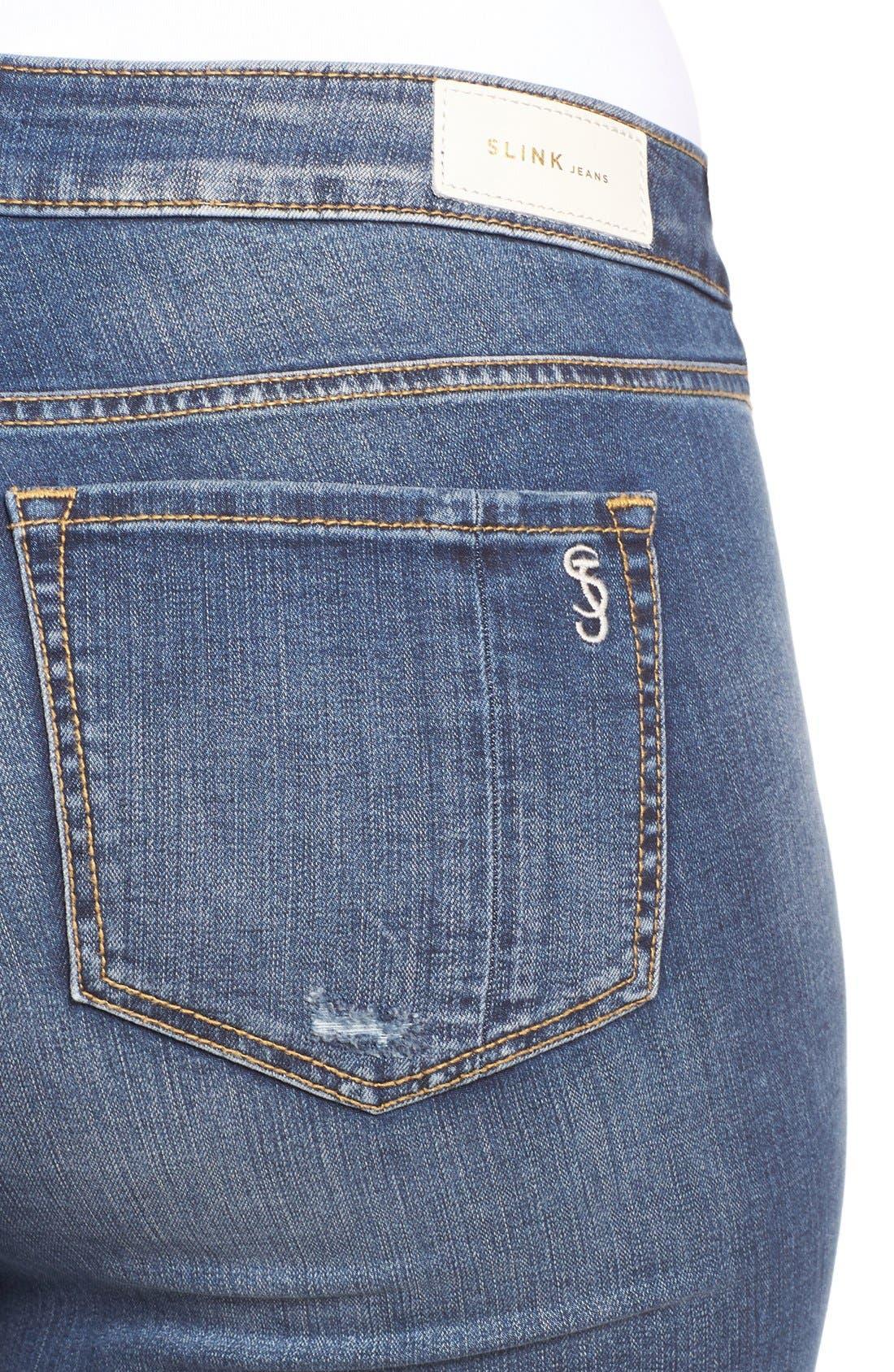 Alternate Image 5  - SLINK Jeans Ripped Stretch Ankle Skinny Jeans (Danika) (Plus Size)