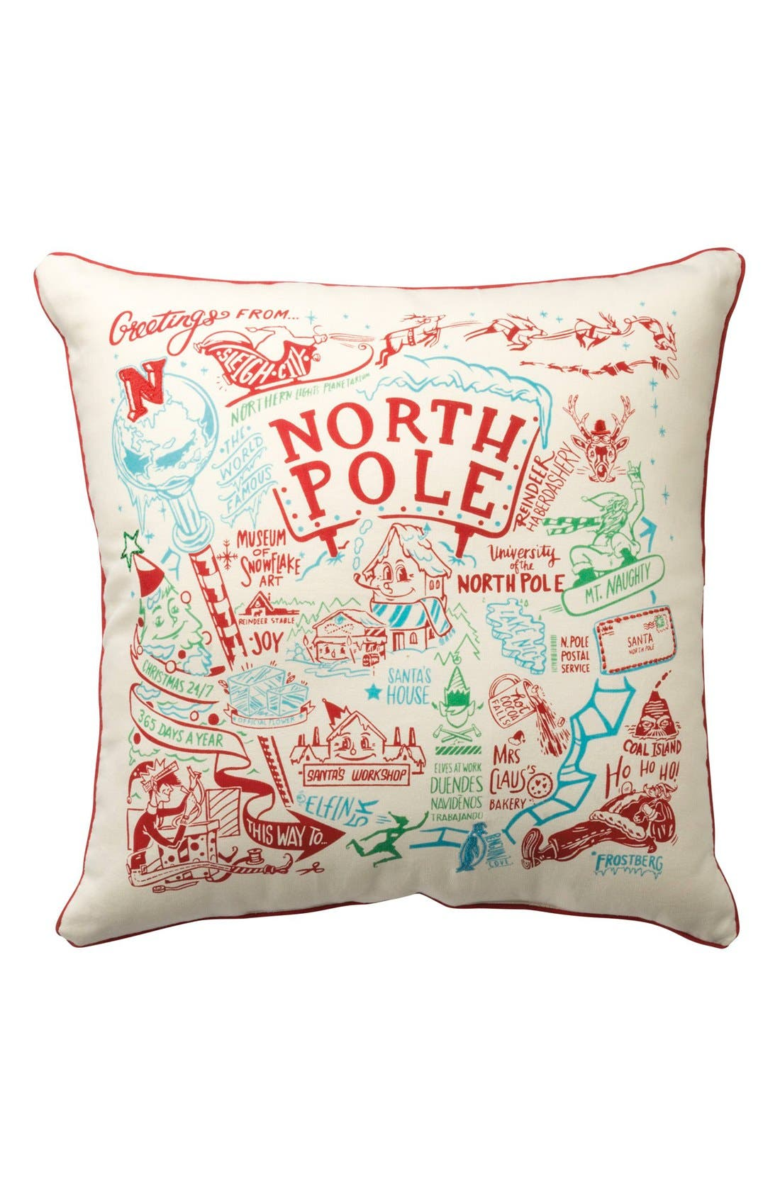 'North Pole' Accent Pillow,                         Main,                         color, Red/ Multi