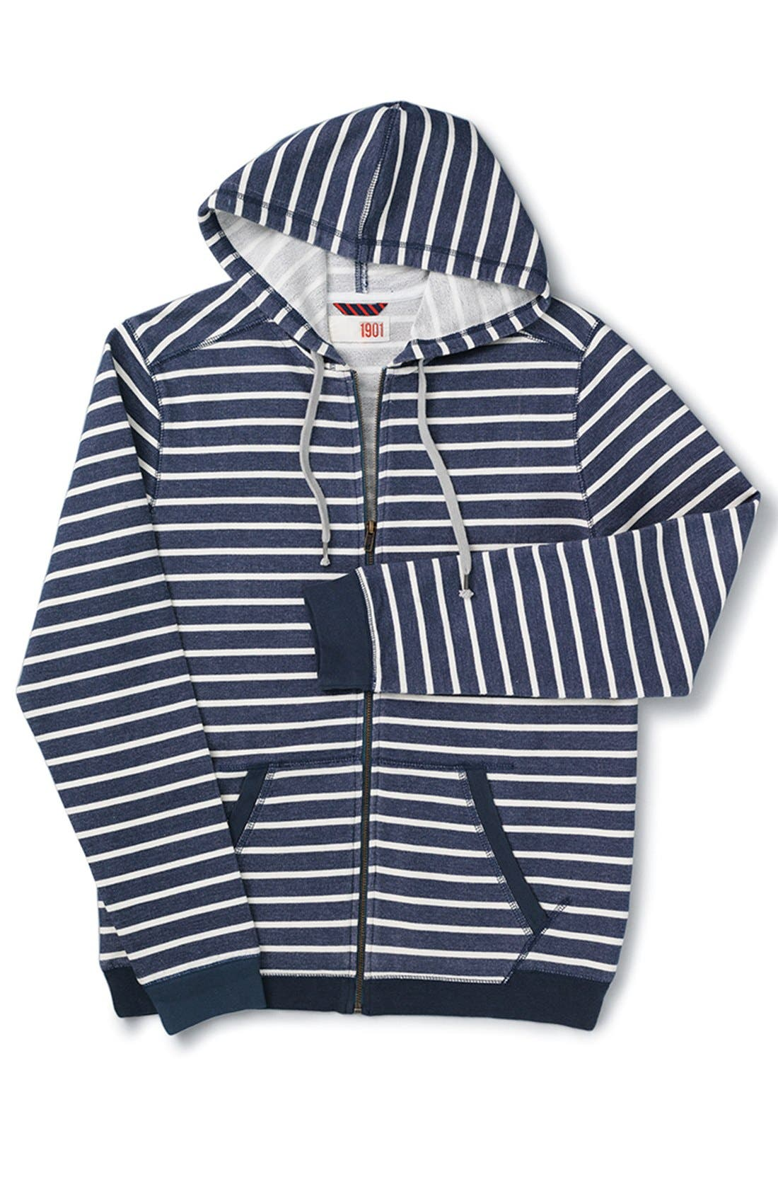 Alternate Image 6  - 1901 'Ashland' Stripe Zip Front Hoodie