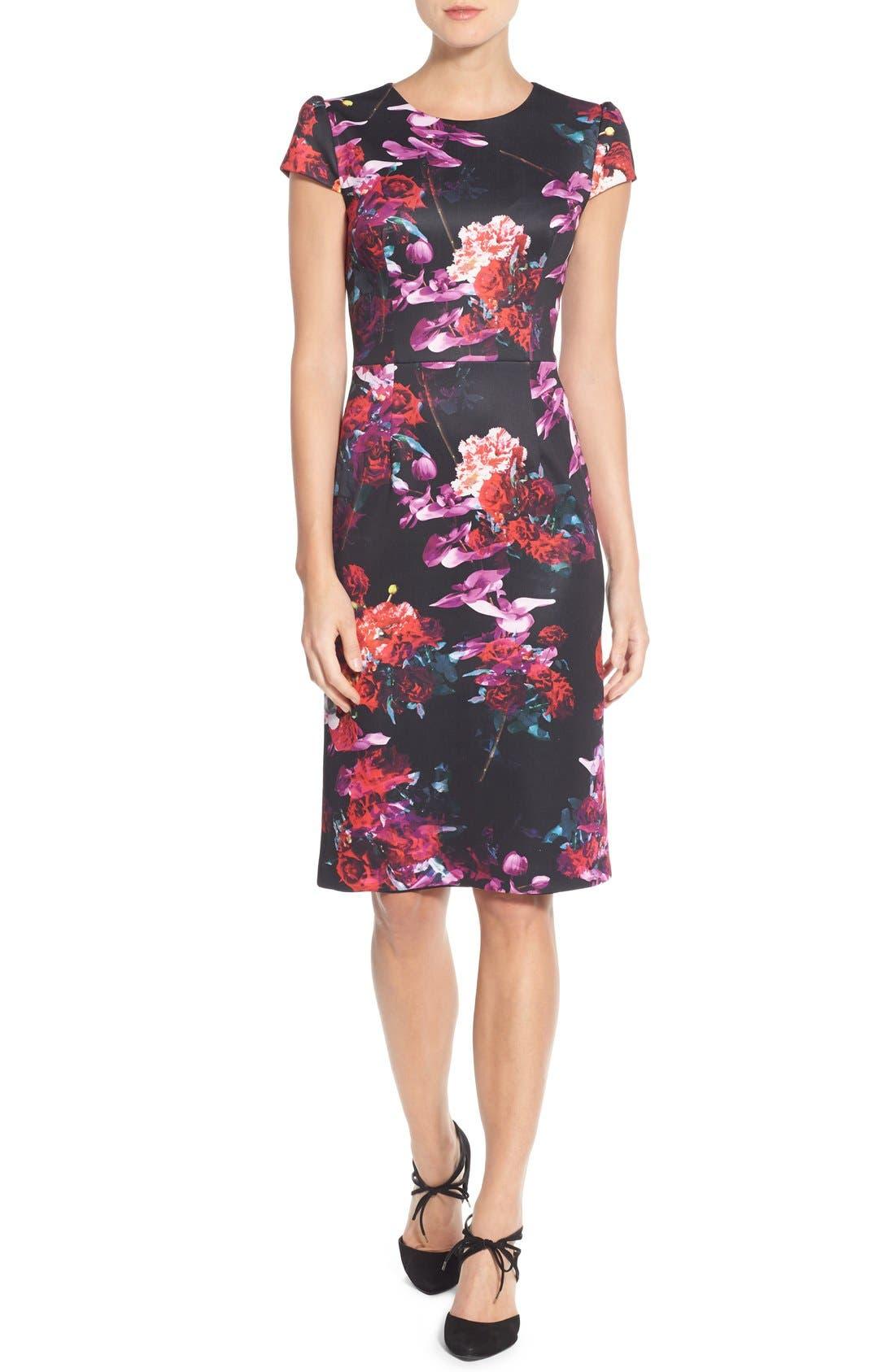 Floral Print Knit Sheath Dress,                         Main,                         color, Black/ Purple Multi