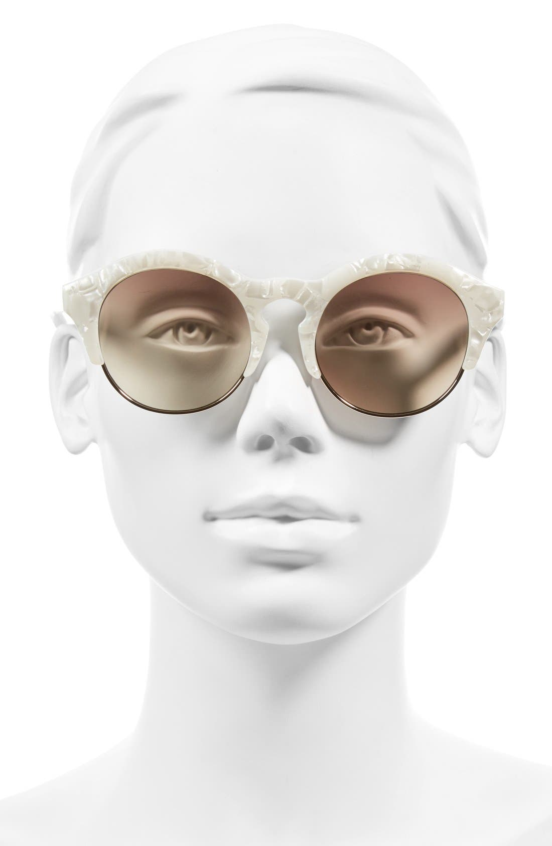 'Edition Five' 51mm Sunglasses,                             Alternate thumbnail 2, color,                             White Marble/ Gold