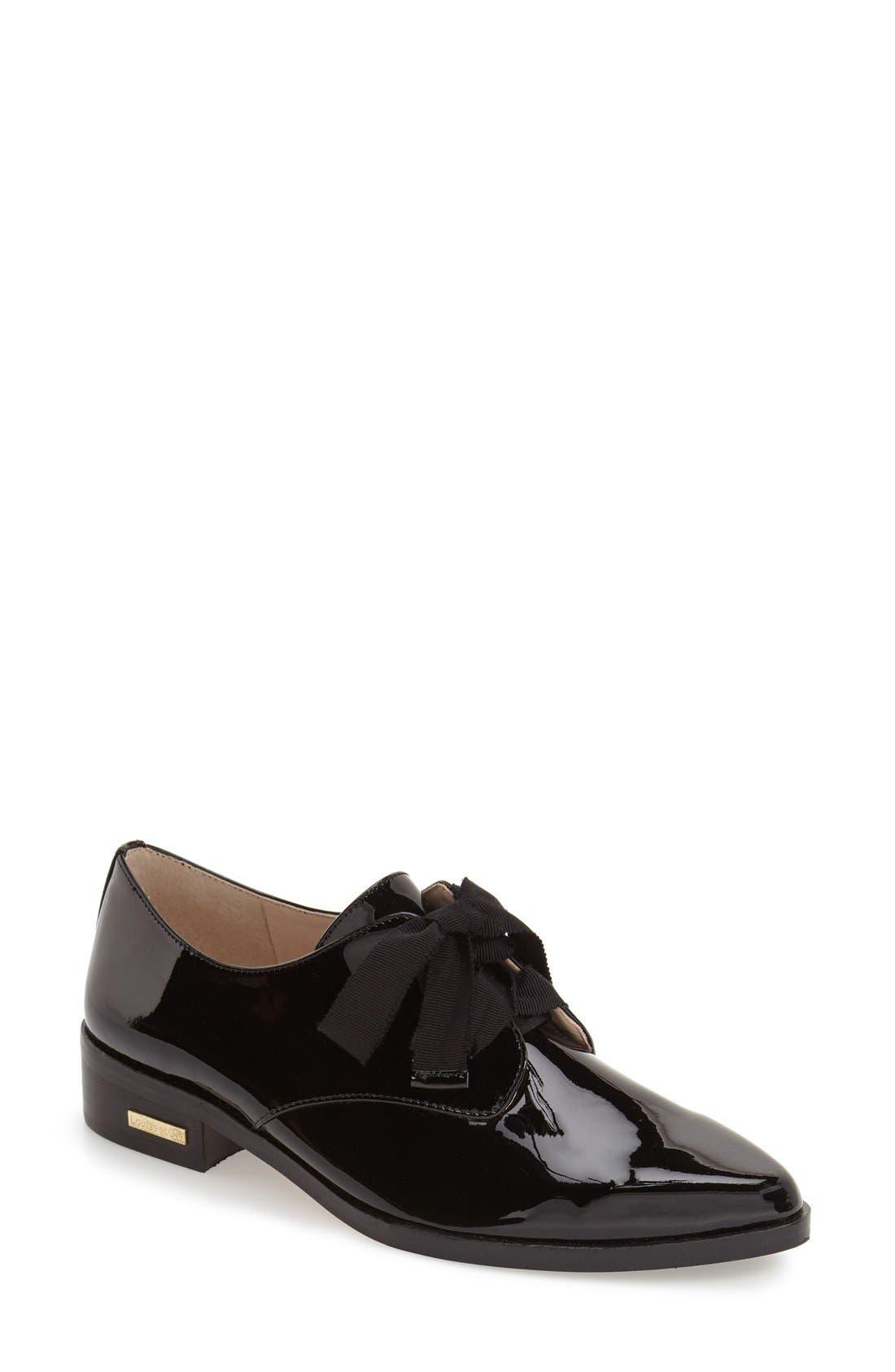'Adwin' Almond Toe Oxford,                         Main,                         color, Black Patent