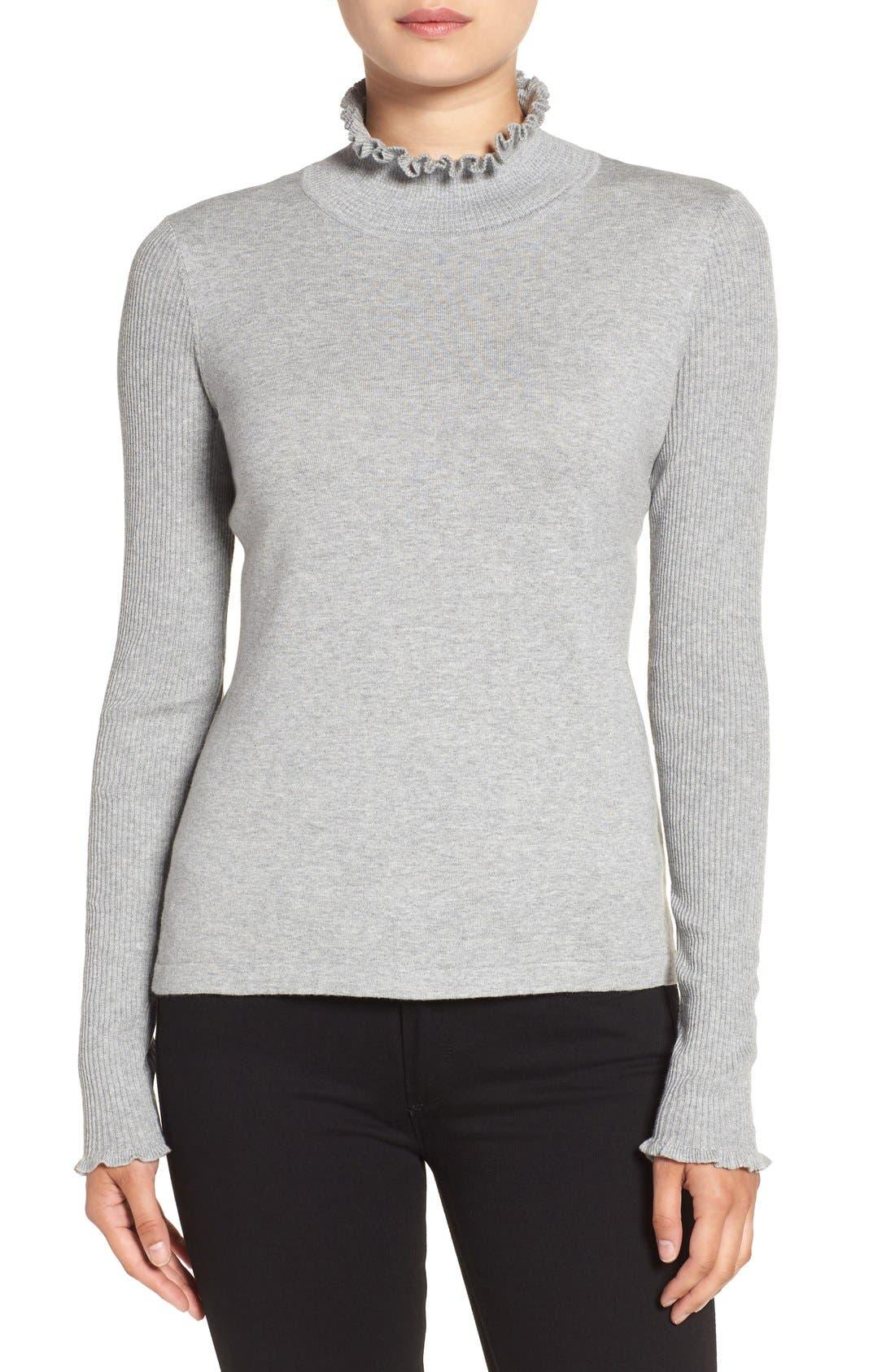 Rib Sleeve Ruffle Trim Turtleneck,                         Main,                         color, Light Heather Grey