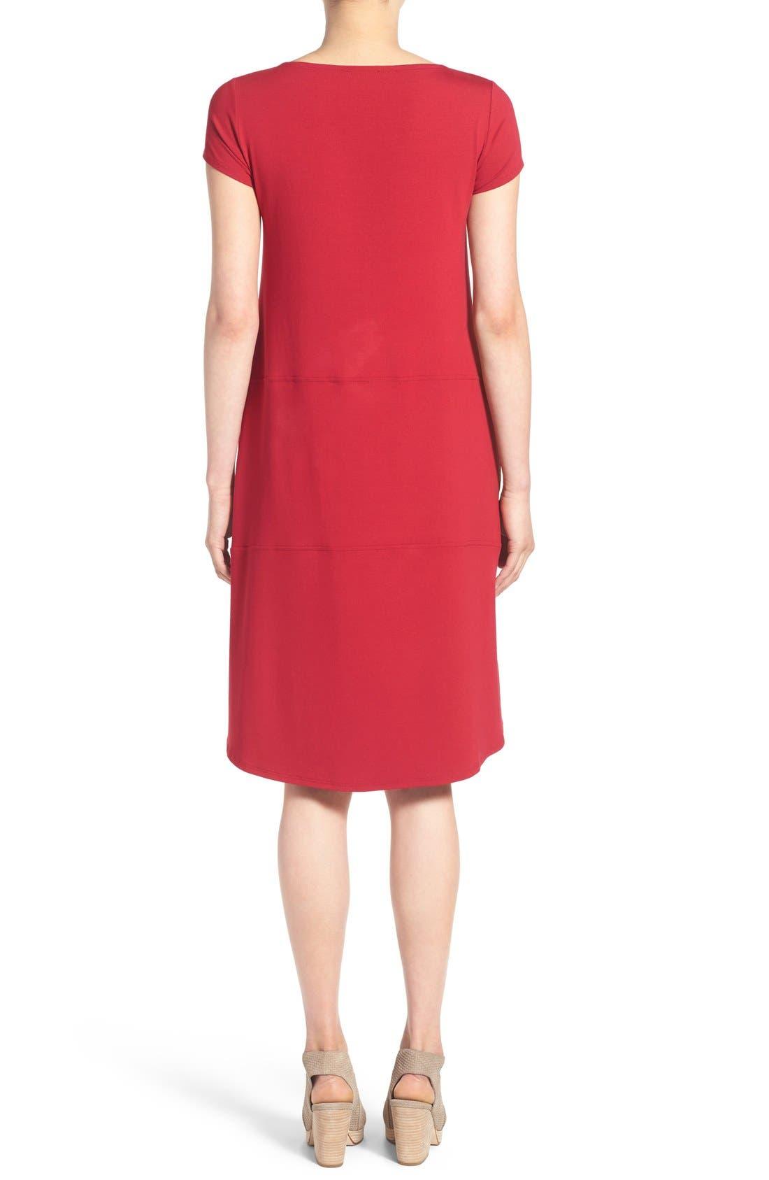 Alternate Image 2  - Eileen Fisher Bateau Neck Cap Sleeve Dress (Regular & Petite)
