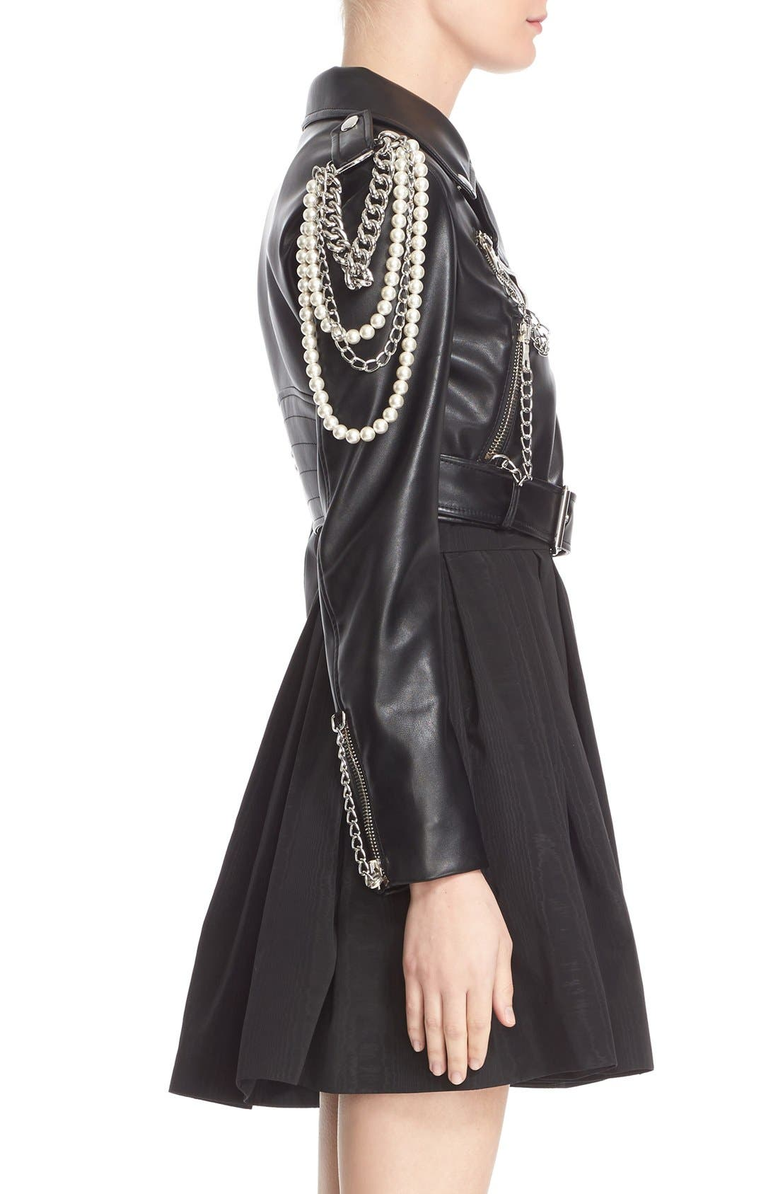 Alternate Image 5  - Moschino Chain & Imitation Pearl Embellished Faux Leather Jacket