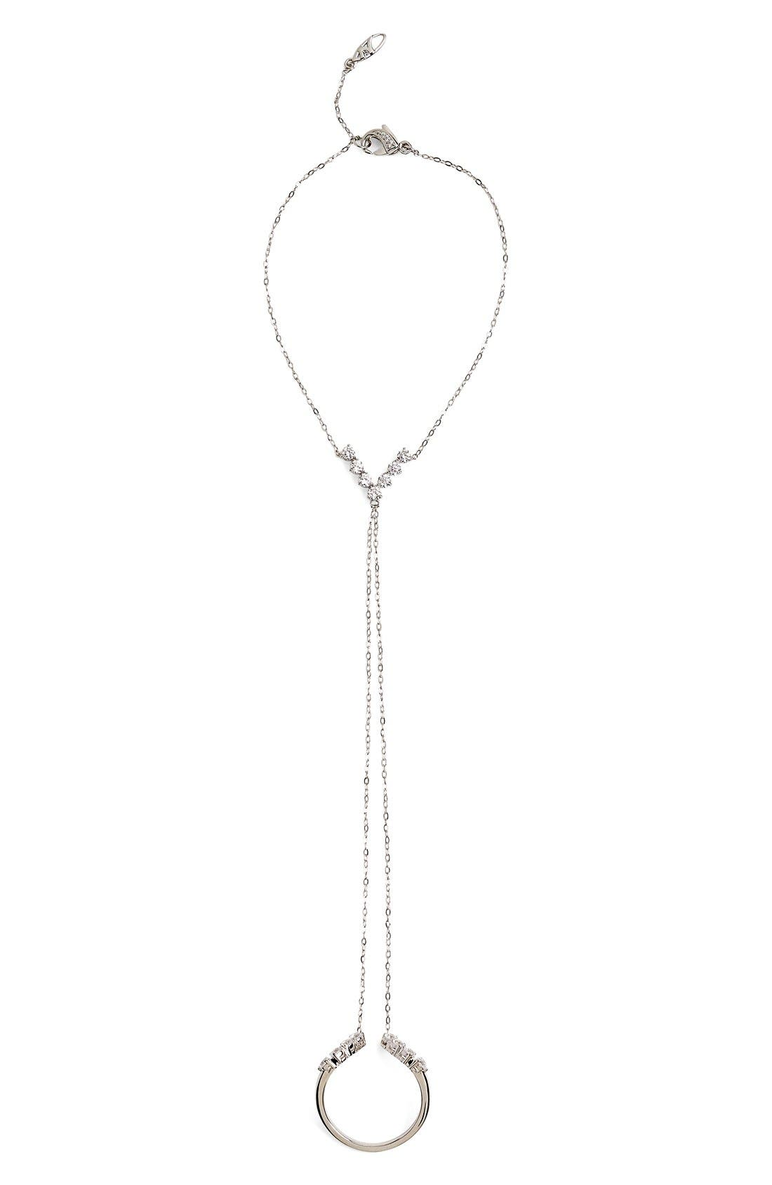 'Salome' Cubic Zirconia Hand Chain,                             Main thumbnail 1, color,                             Silver