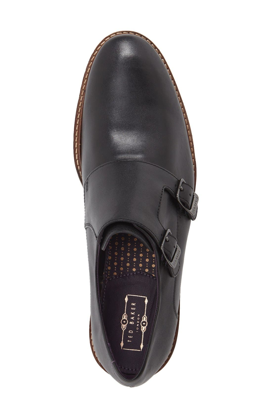 'Kartor 3' Double Monk Strap Shoe,                             Alternate thumbnail 3, color,                             Black