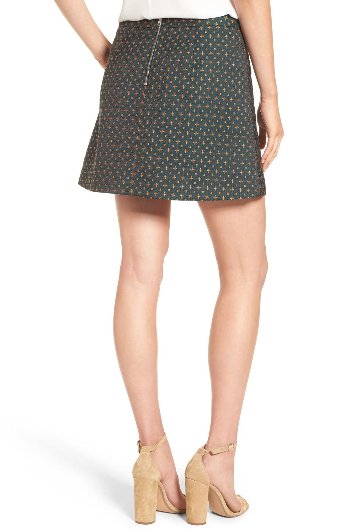 Jacquard A-Line Skirt,                             Alternate thumbnail 2, color,                             Green Mosaic Jacquard