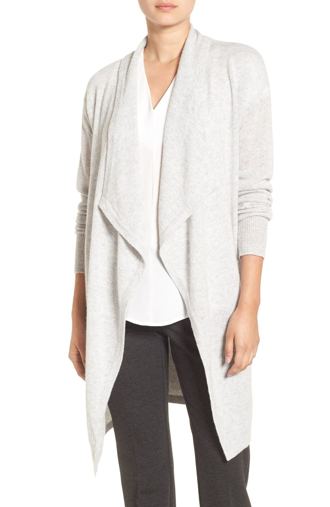 Main Image - Halogen® Cashmere Long Drape Front Cardigan (Regular & Petite)