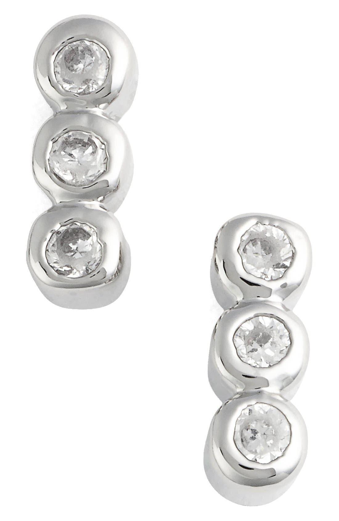 Triple Bezel Stud Earrings,                         Main,                         color, Silver/ Clear