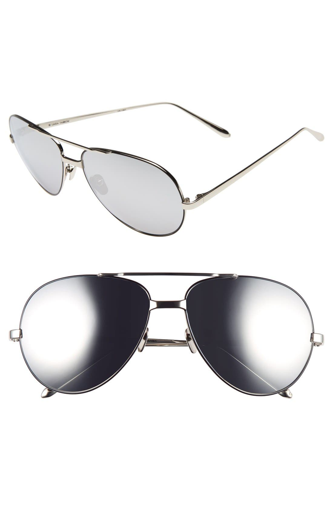 Main Image - Linda Farrow 59mm 18 Karat White Gold Trim Aviator Sunglasses