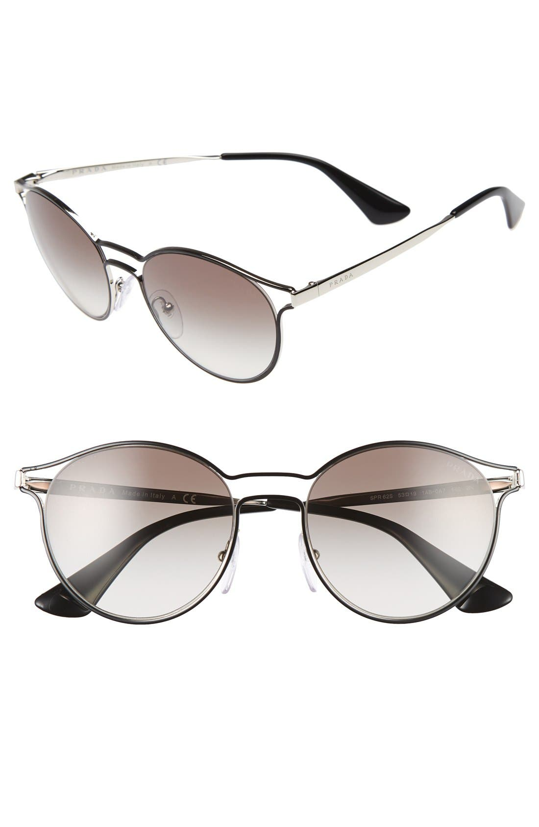 Prada 53mm Rectangular Cat Eye Sunglasses