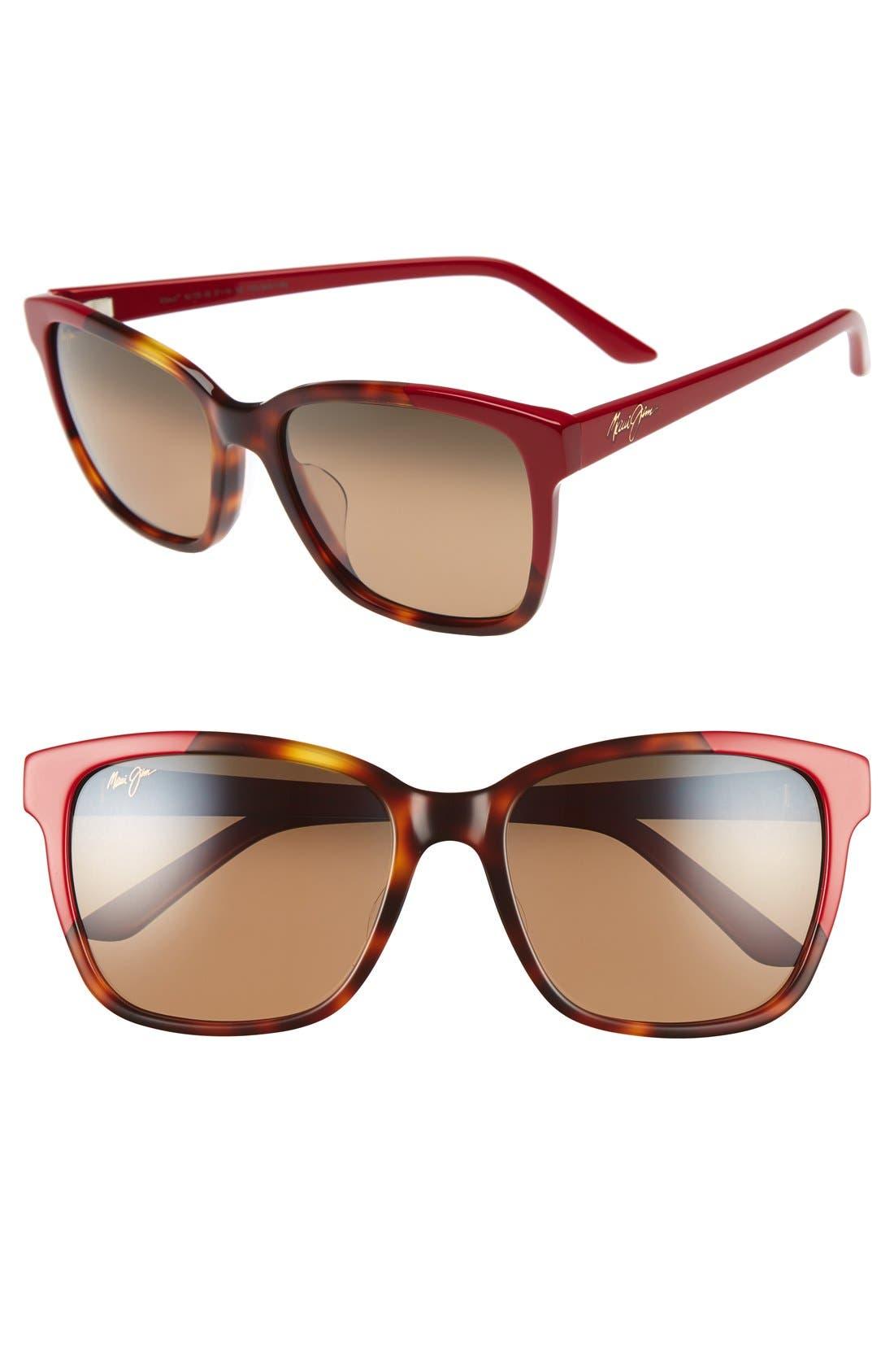Moonbow 57mm PolarizedPlus2<sup>®</sup> Sunglasses,                         Main,                         color, Tortoise/ Red/ Bronze