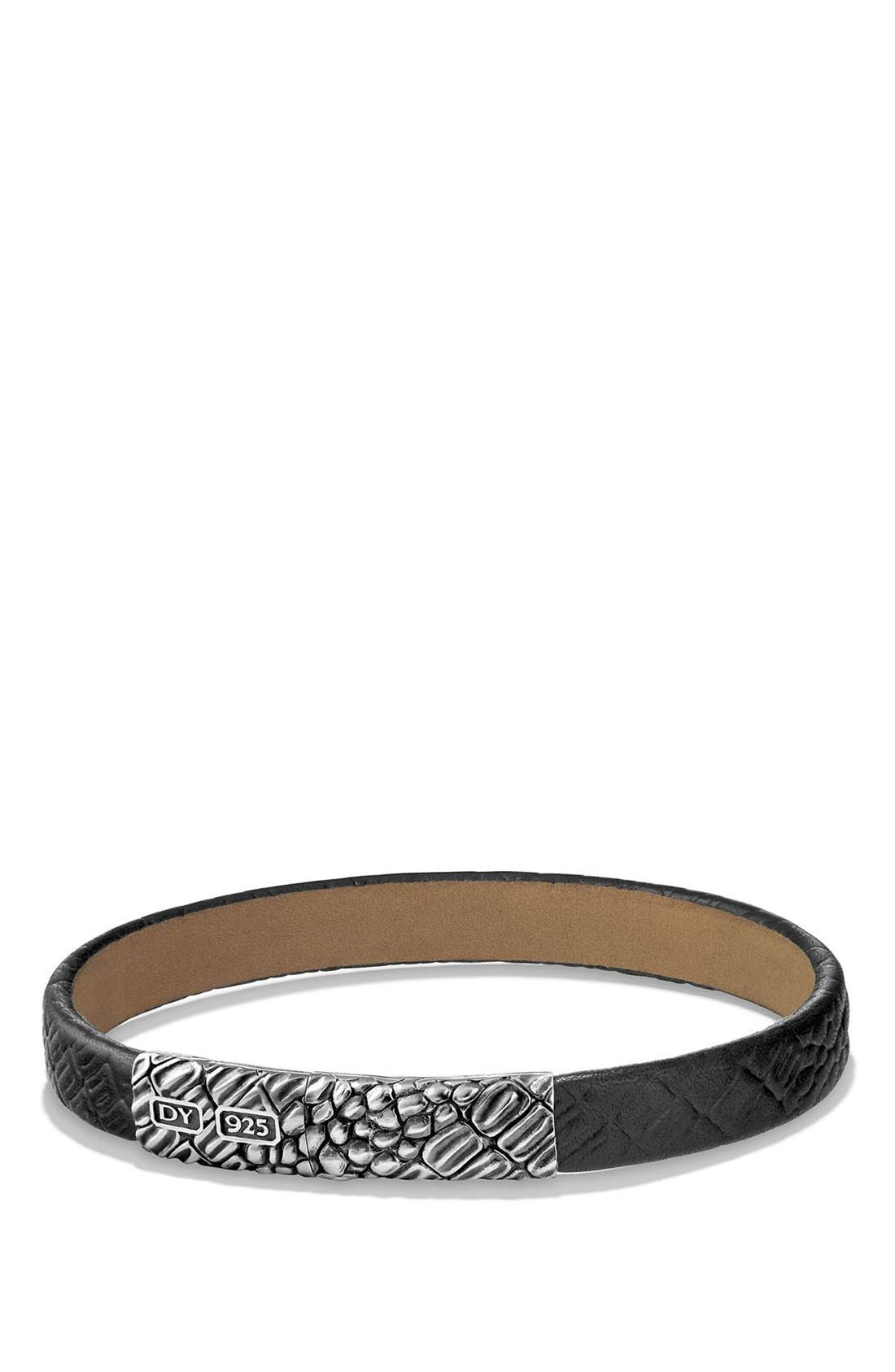 Gator Leather Bracelet,                         Main,                         color, Silver/ Black Leather