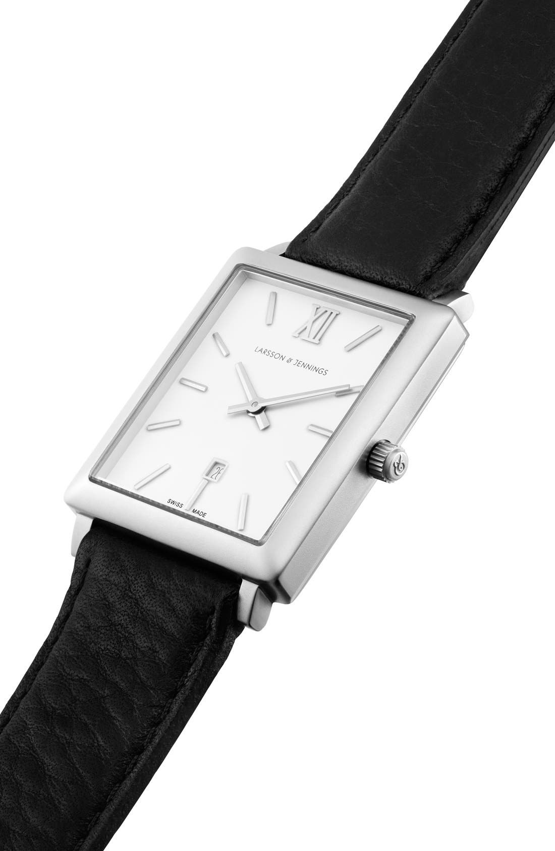 Alternate Image 5  - Larsson & Jennings 'Norse' Rectangular Leather Strap Watch, 29mm x 40mm