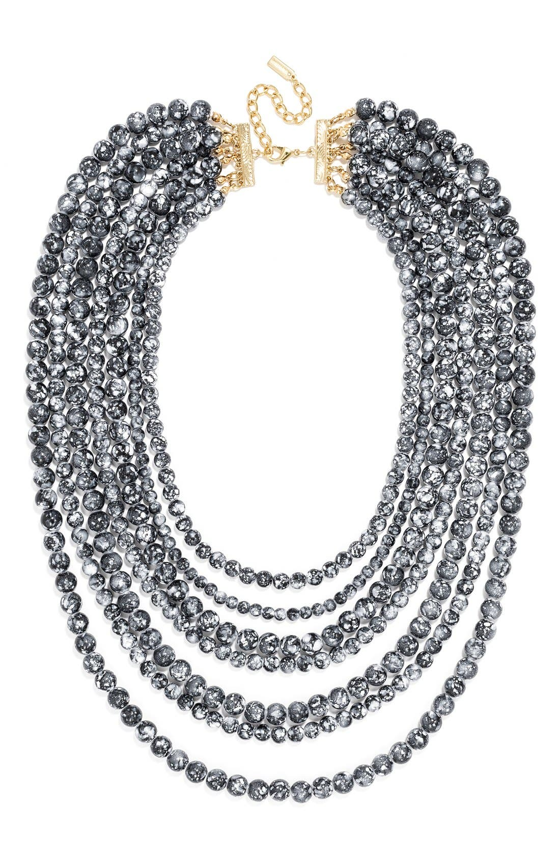 'Bold' Multistrand Beaded Statement Necklace,                             Main thumbnail 1, color,                             Black