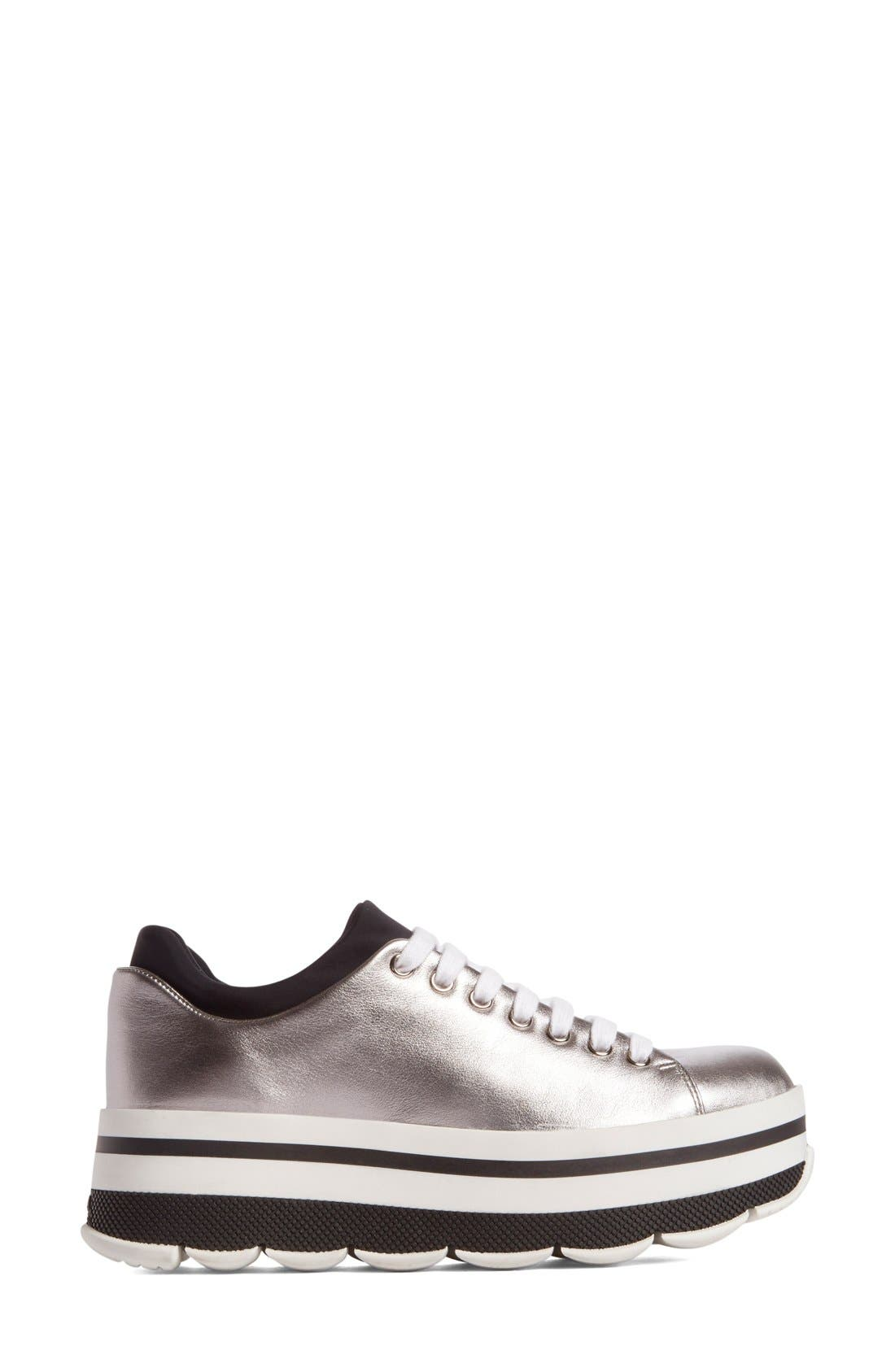 Platform Sneaker,                             Alternate thumbnail 3, color,                             Silver Leather