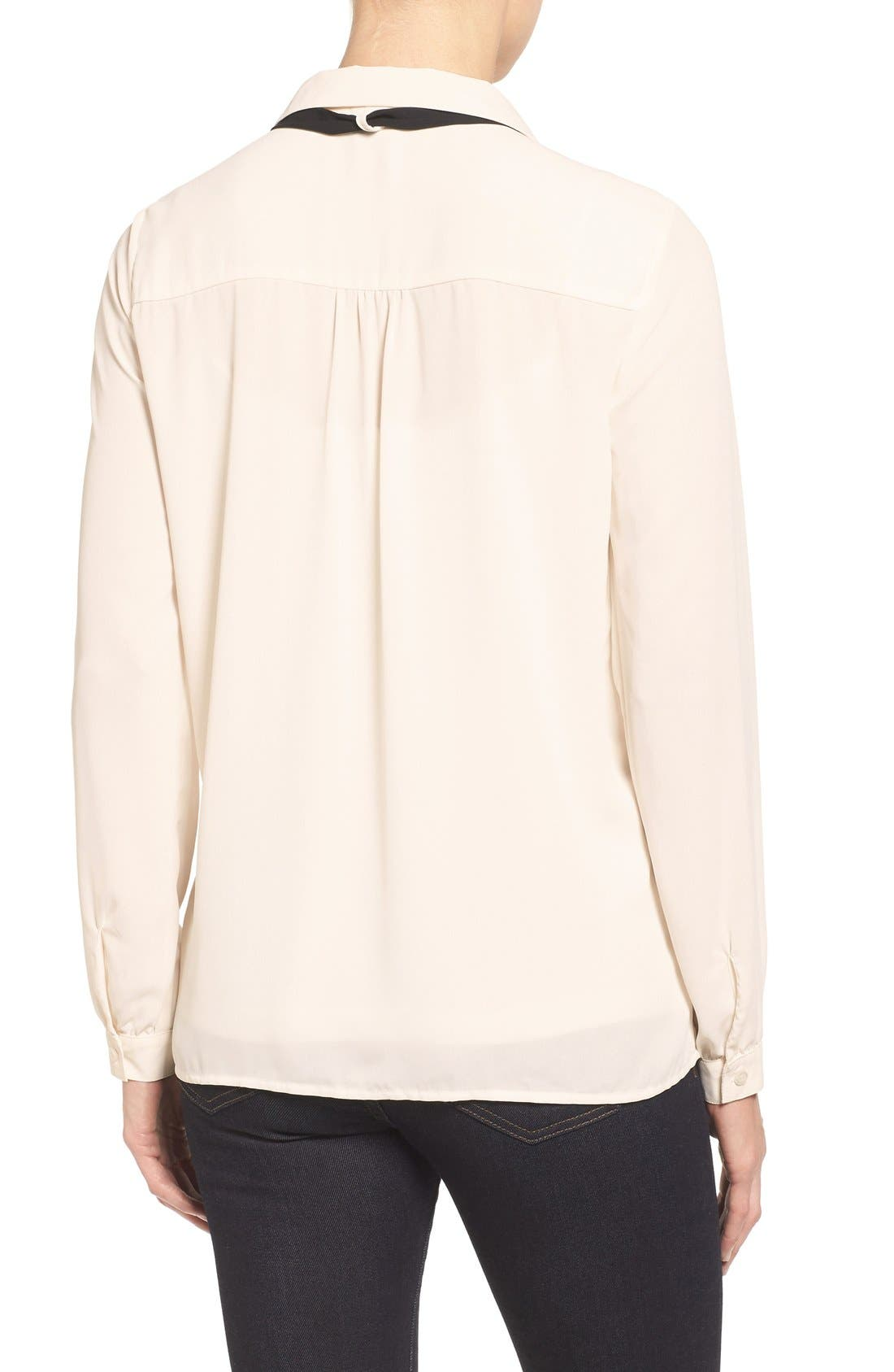 Long Sleeve Contrast Bow Blouse,                             Alternate thumbnail 2, color,                             Ivory