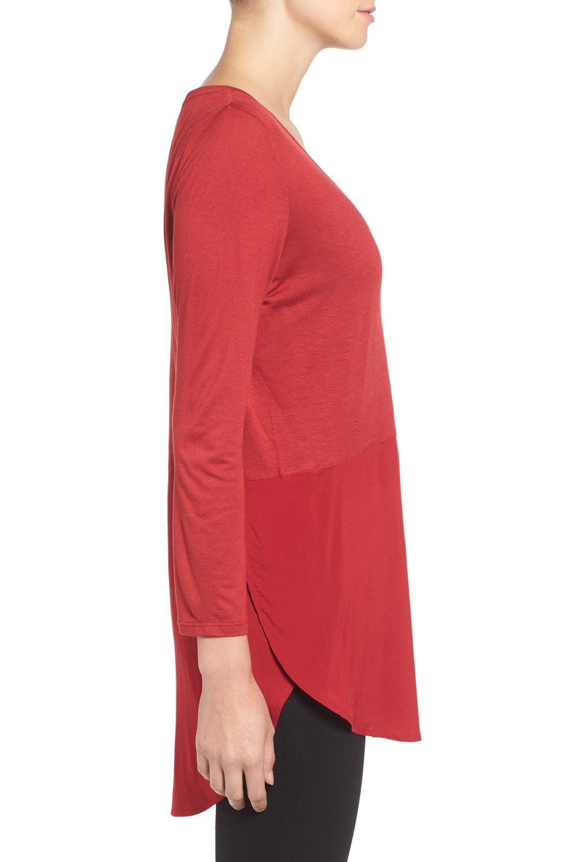 Alternate Image 3  - Two by Vince Camuto Mixed Media V-Neck Tunic