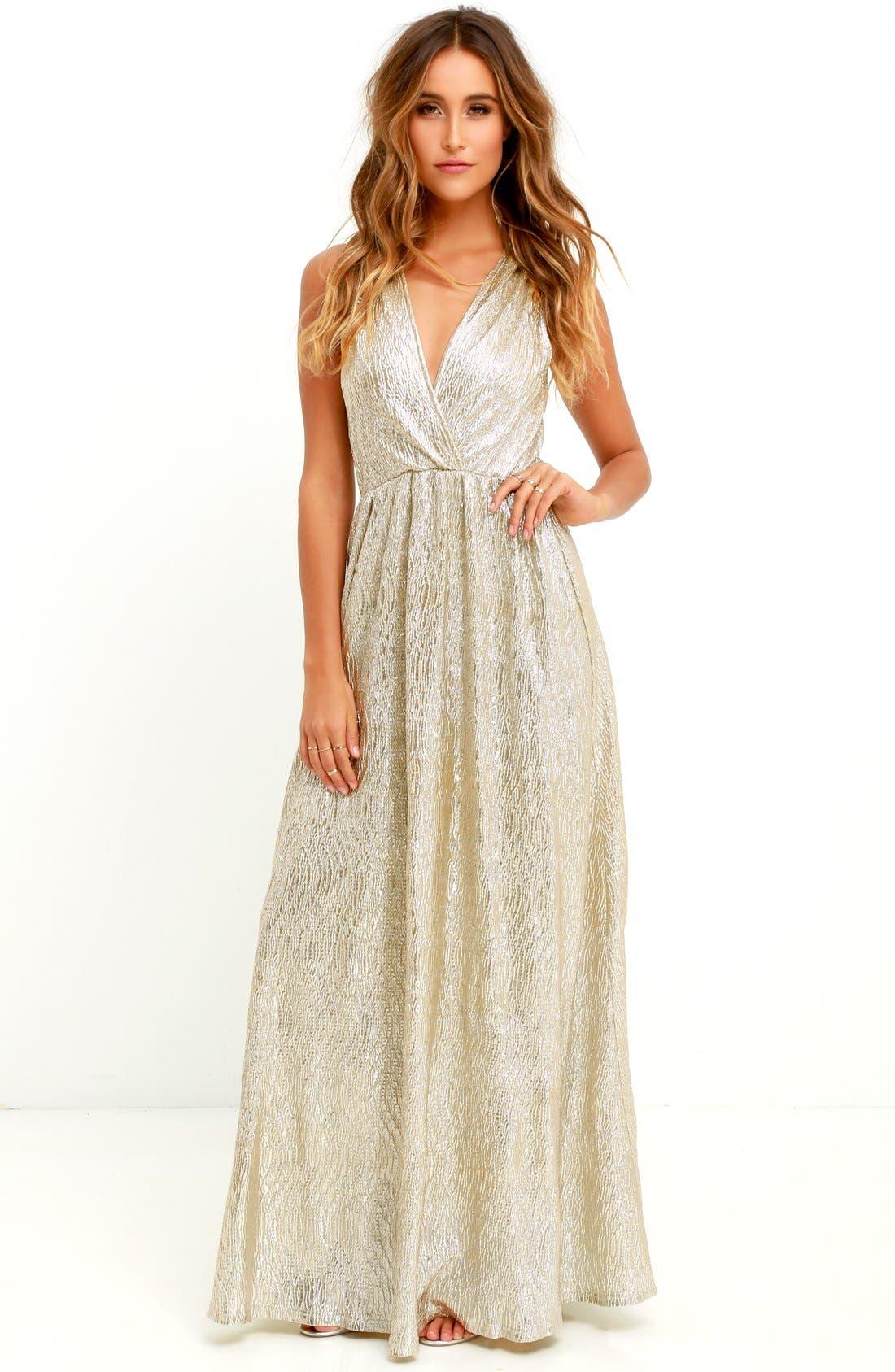 Alternate Image 2  - Lulus Surplice V-Neck Sleeveless Shimmer Gown