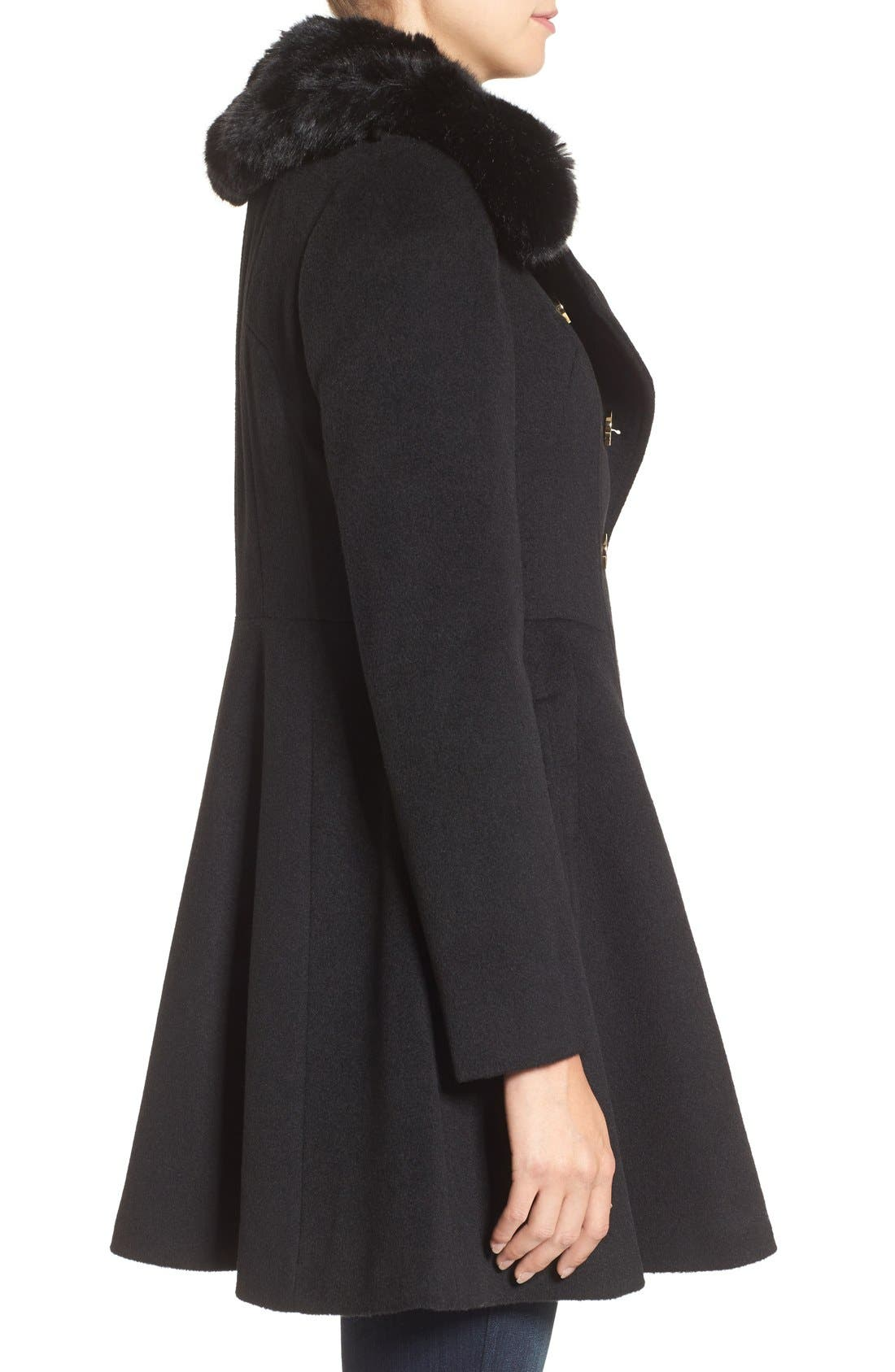 Double Breasted Coat with Faux Fur Collar,                             Alternate thumbnail 3, color,                             Black