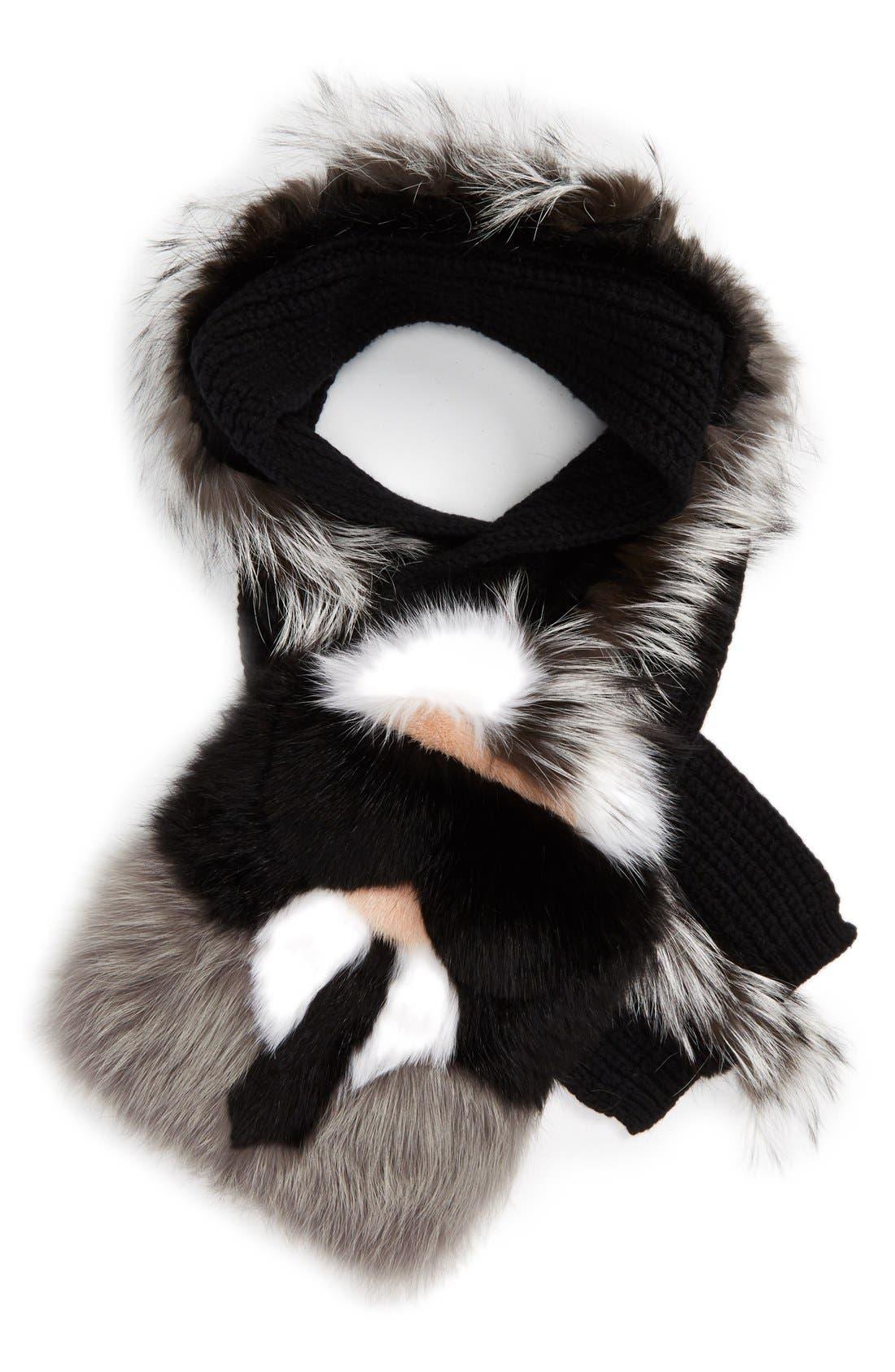 'Karlito' Genuine Fox, Genuine Mink & Genuine Nutria Fur Scarf,                             Alternate thumbnail 2, color,                             Black/ Natural