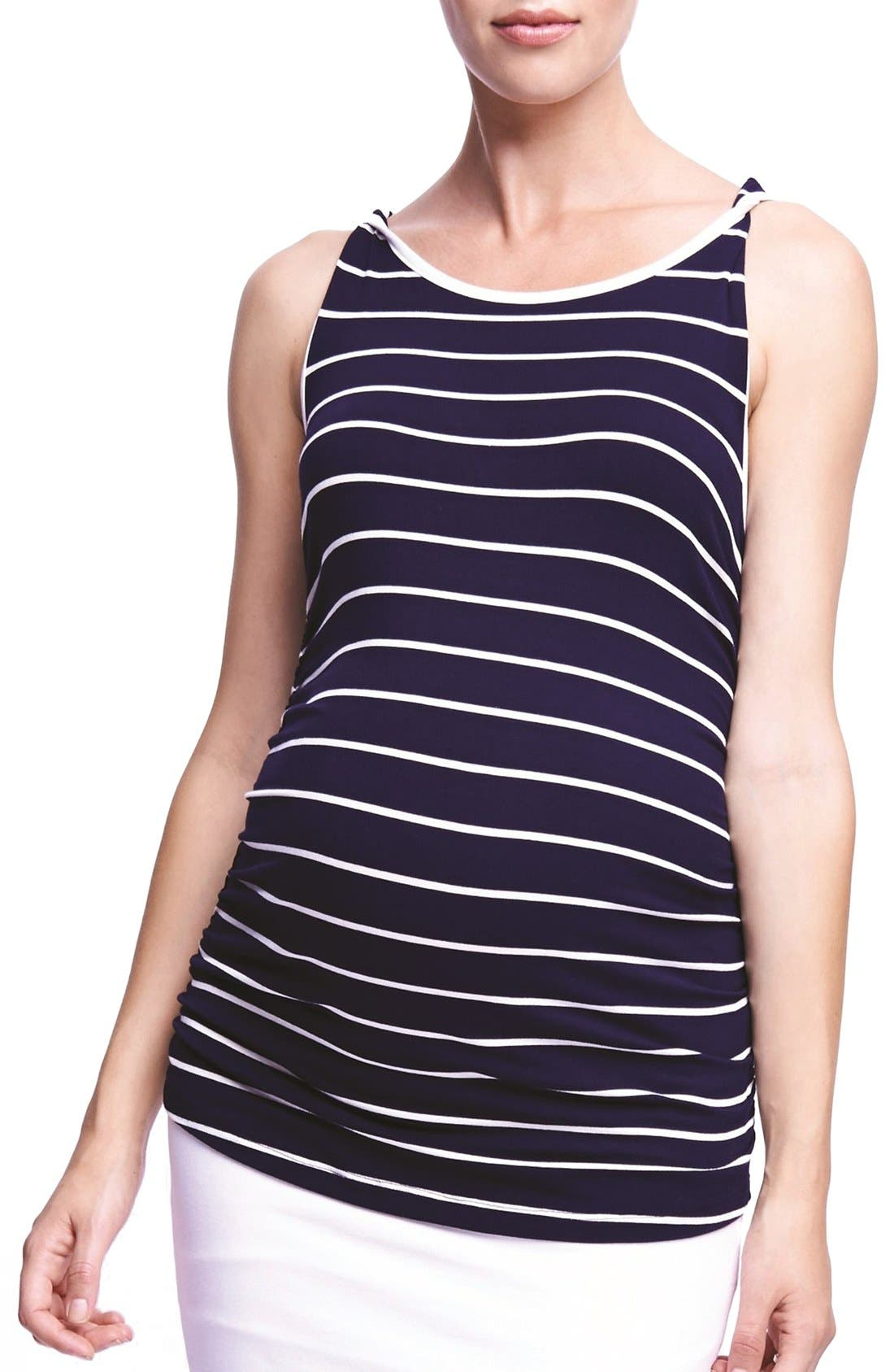 'Twist' Stripe Maternity Tank,                             Main thumbnail 1, color,                             Navy/ White Stripe