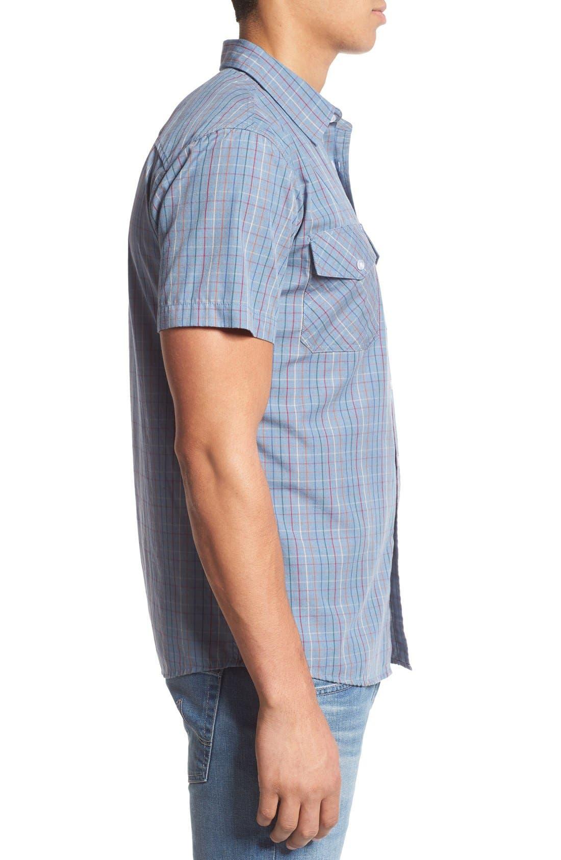 'Memphis' Trim Fit Plaid Short Sleeve Woven Shirt,                             Alternate thumbnail 3, color,                             Washed Blue