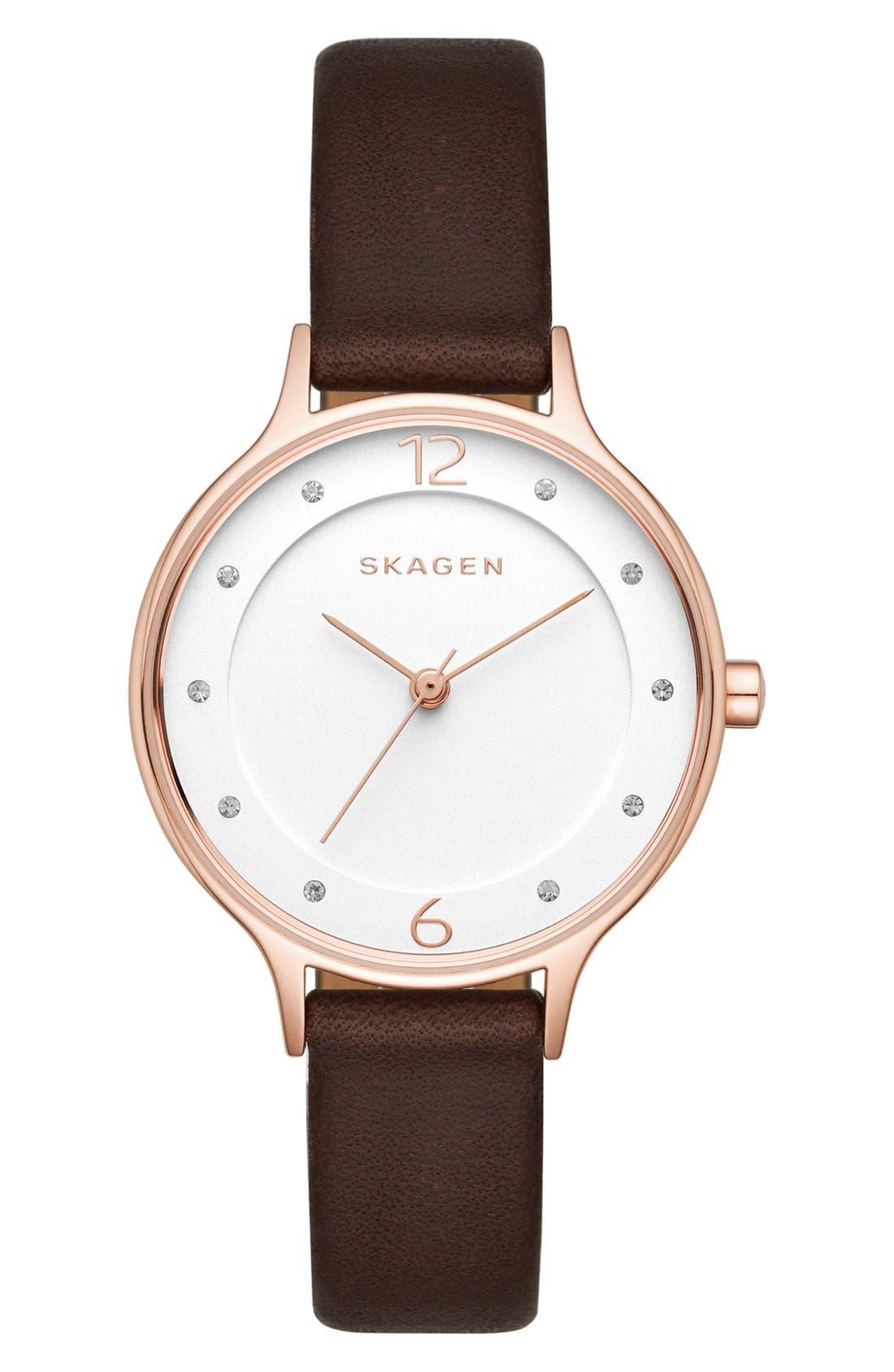 Main Image - Skagen 'Anita' Leather Strap Watch, 30mm