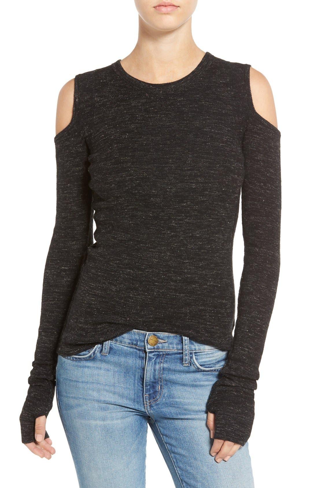 CURRENT/ELLIOTT The Mélange Cold Shoulder Wool & Linen Sweater