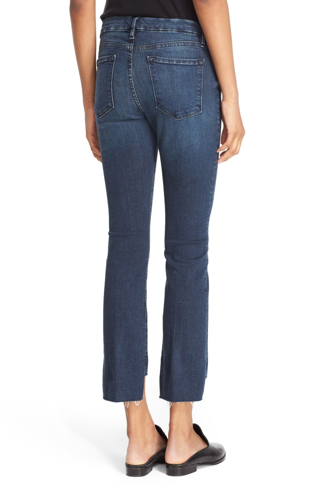 'Le Crop Mini Boot' Staggered Hem Crop Jeans,                             Alternate thumbnail 3, color,                             Topsail