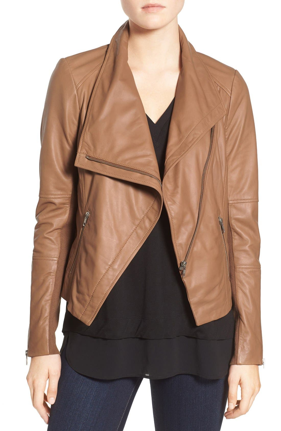 Drape Front Leather Jacket,                             Main thumbnail 1, color,                             Brown Saddle