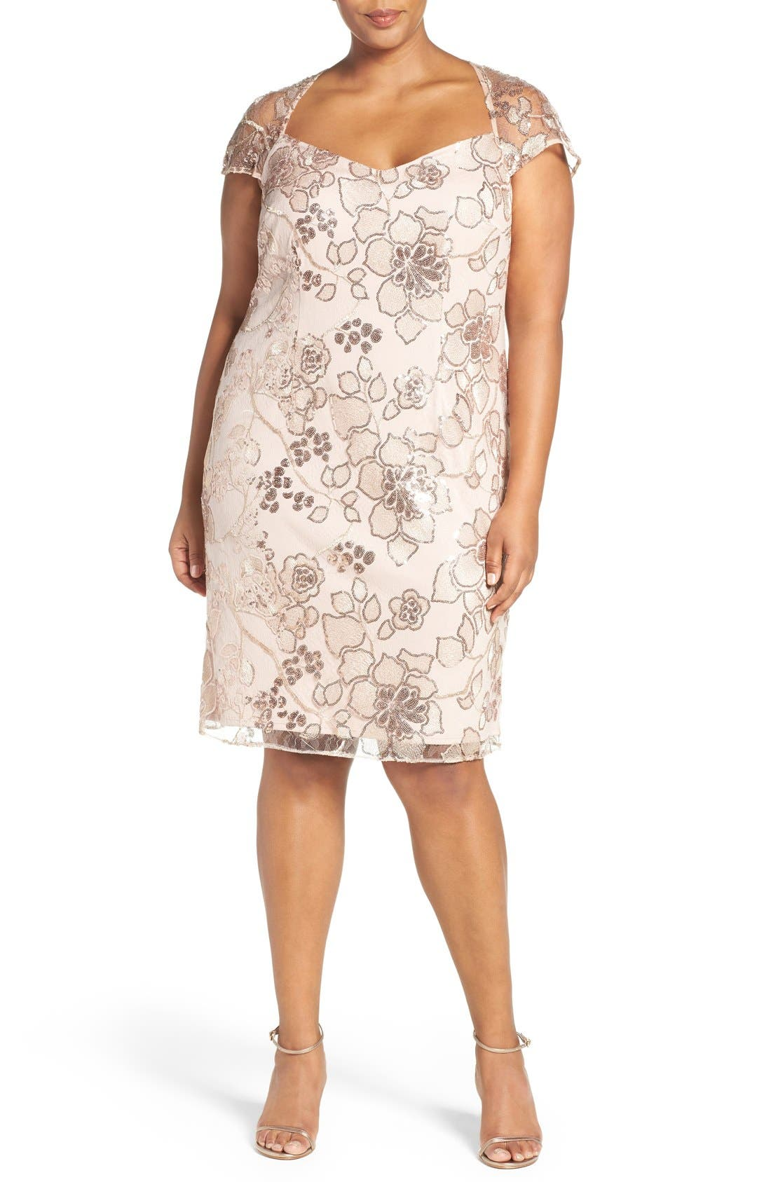 Embellished Embroidered Lace Cocktail Dress,                             Main thumbnail 1, color,                             Almond